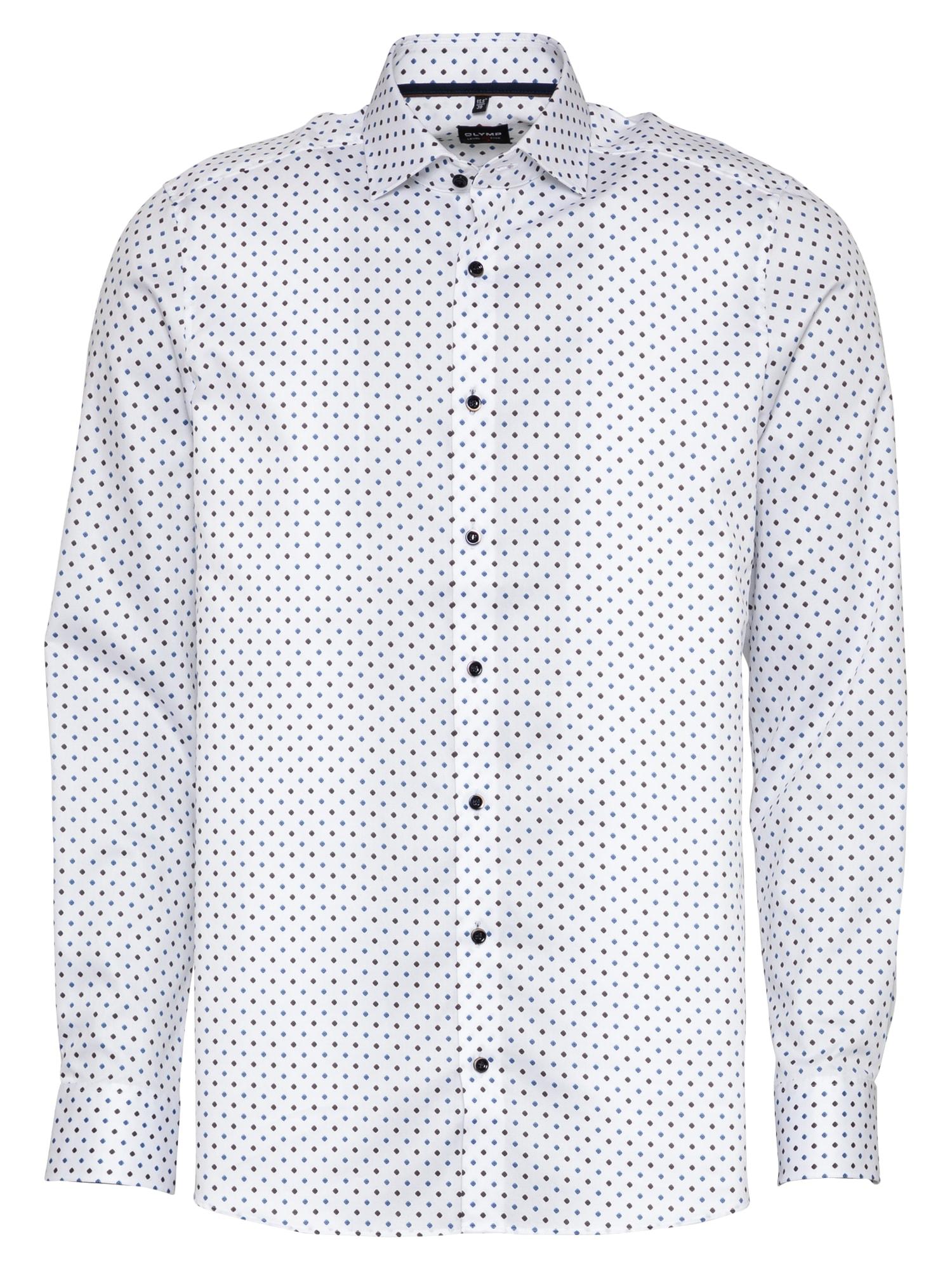 OLYMP Marškiniai ruda / balta / mėlyna