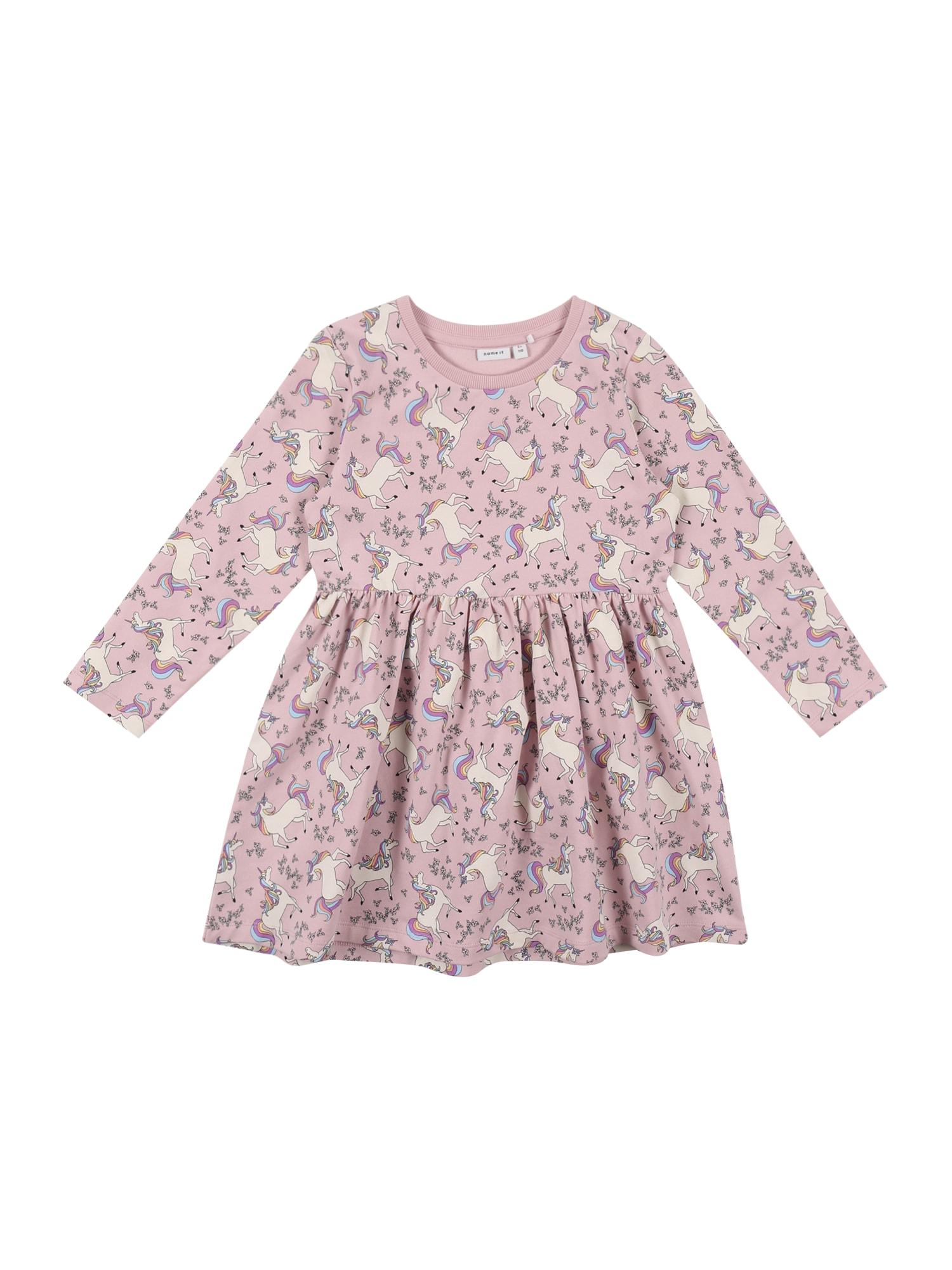 NAME IT Suknelė ryškiai rožinė spalva / balta / šviesiai violetinė