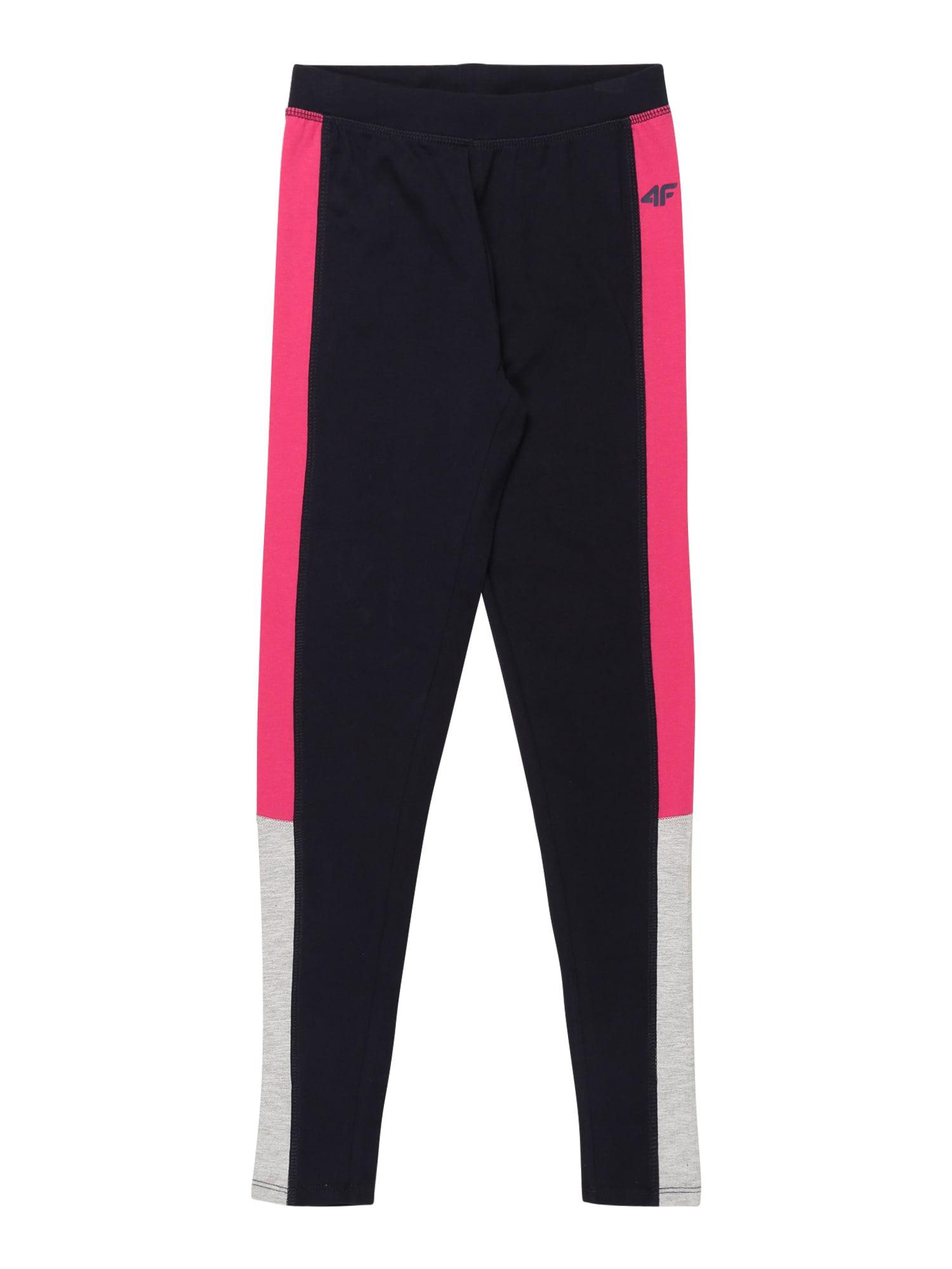 4F Sportinės kelnės tamsiai mėlyna / rožinė / pilka