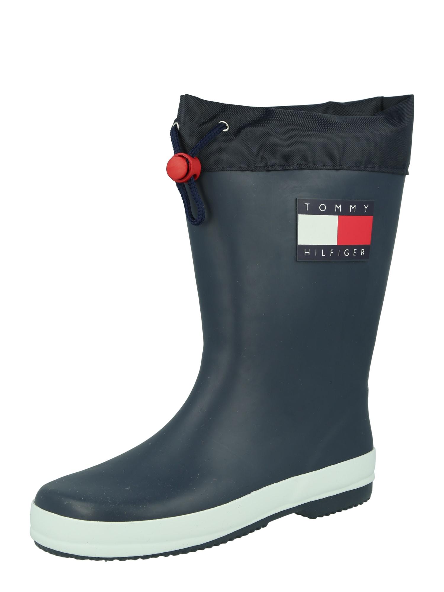 TOMMY HILFIGER Guminiai batai tamsiai mėlyna / balta / raudona