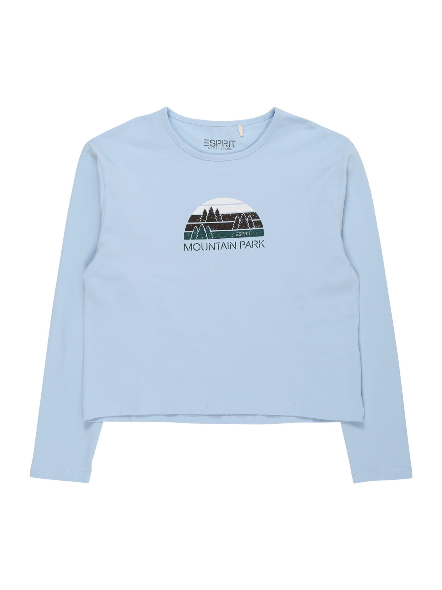 ESPRIT Marškinėliai tamsiai žalia / balta / tamsiai ruda / šviesiai mėlyna