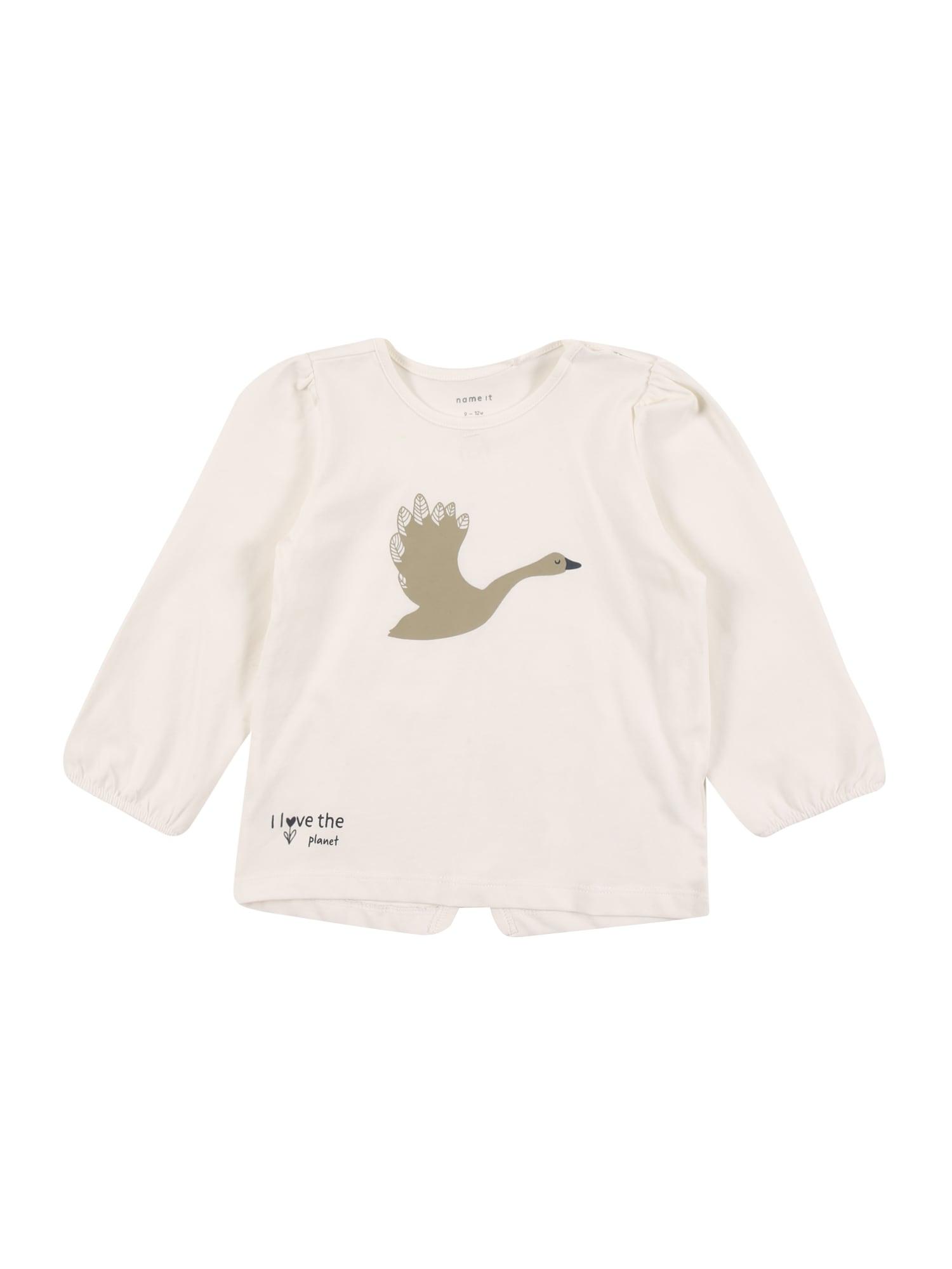 NAME IT Marškinėliai 'BONNIE' balta / auksas / juoda