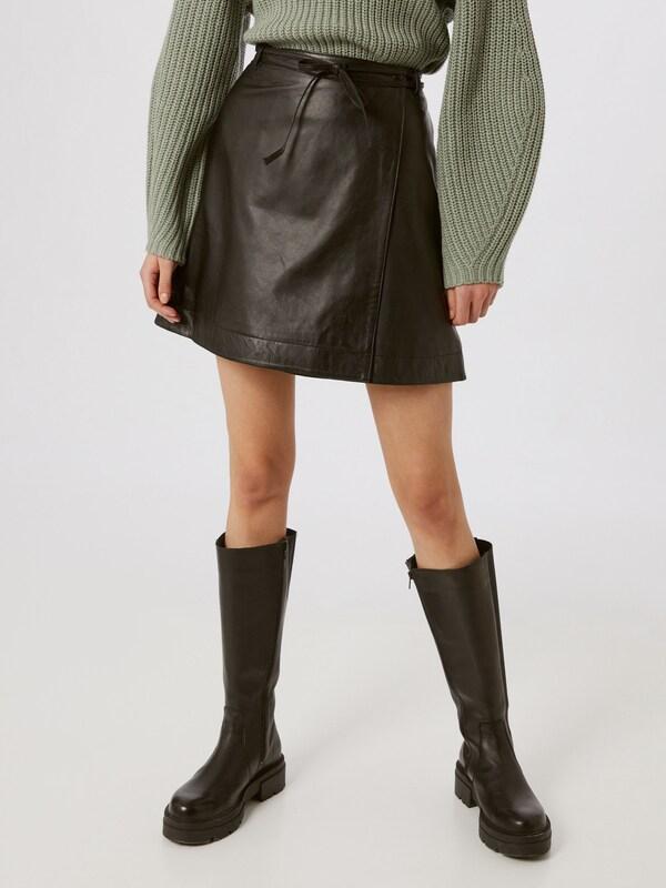 Selected Femme Ralla Tie Waist Leather Mini Skirt