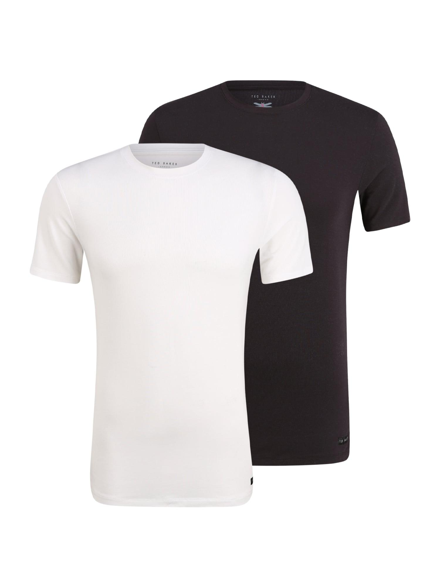 Ted Baker Apatiniai marškinėliai juoda / balkšva