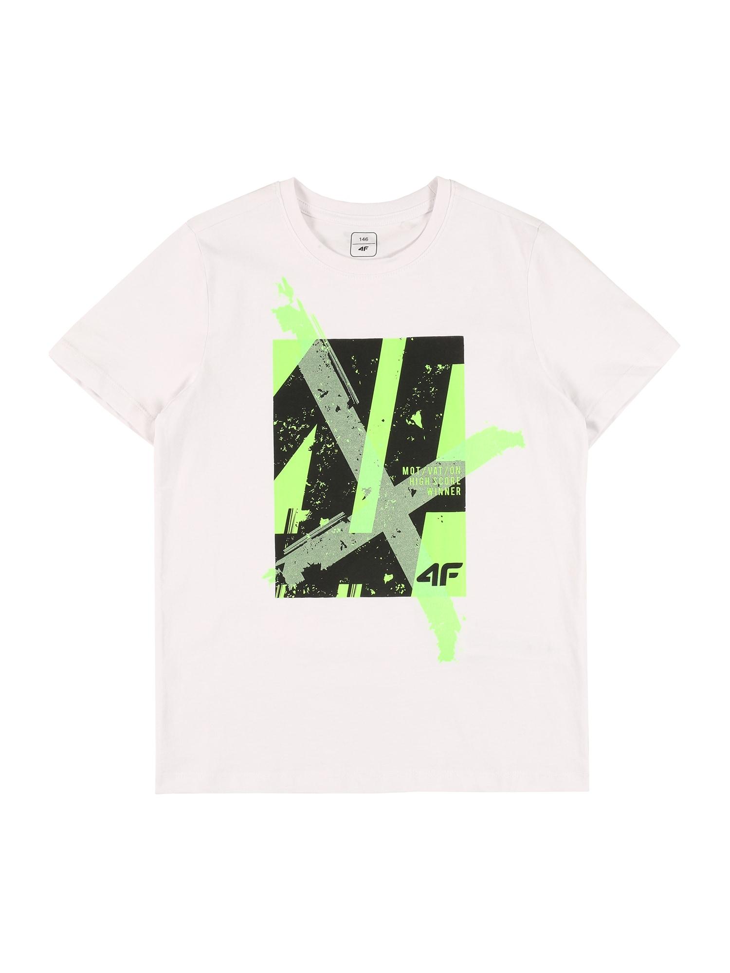 4F Sportiniai marškinėliai balta / juoda / žalia / šviesiai pilka