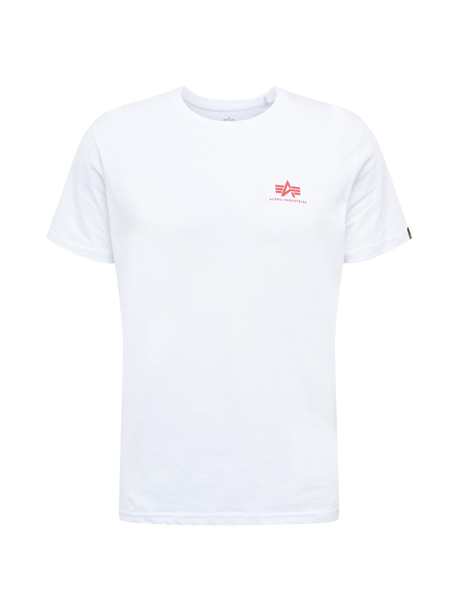 ALPHA INDUSTRIES Marškinėliai balta / šviesiai raudona