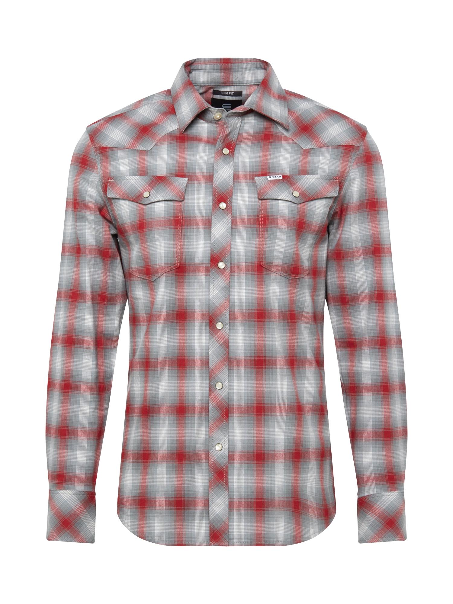 G-Star RAW Marškiniai raudona / pilka / balta