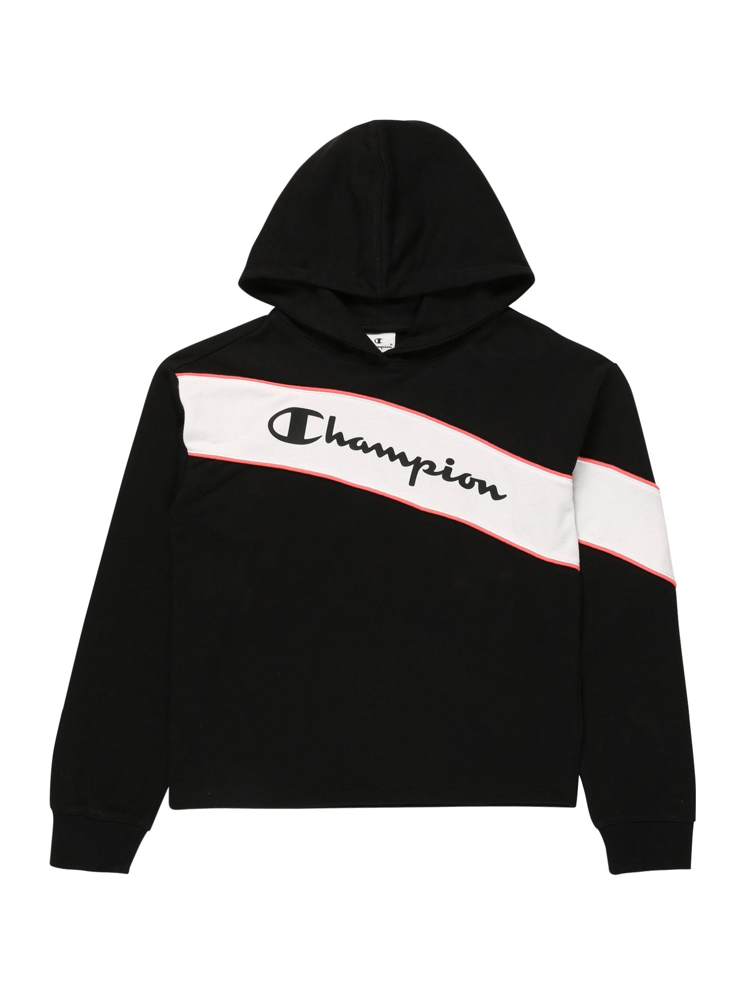 Champion Authentic Athletic Apparel Megztinis be užsegimo juoda / balta / šviesiai rožinė
