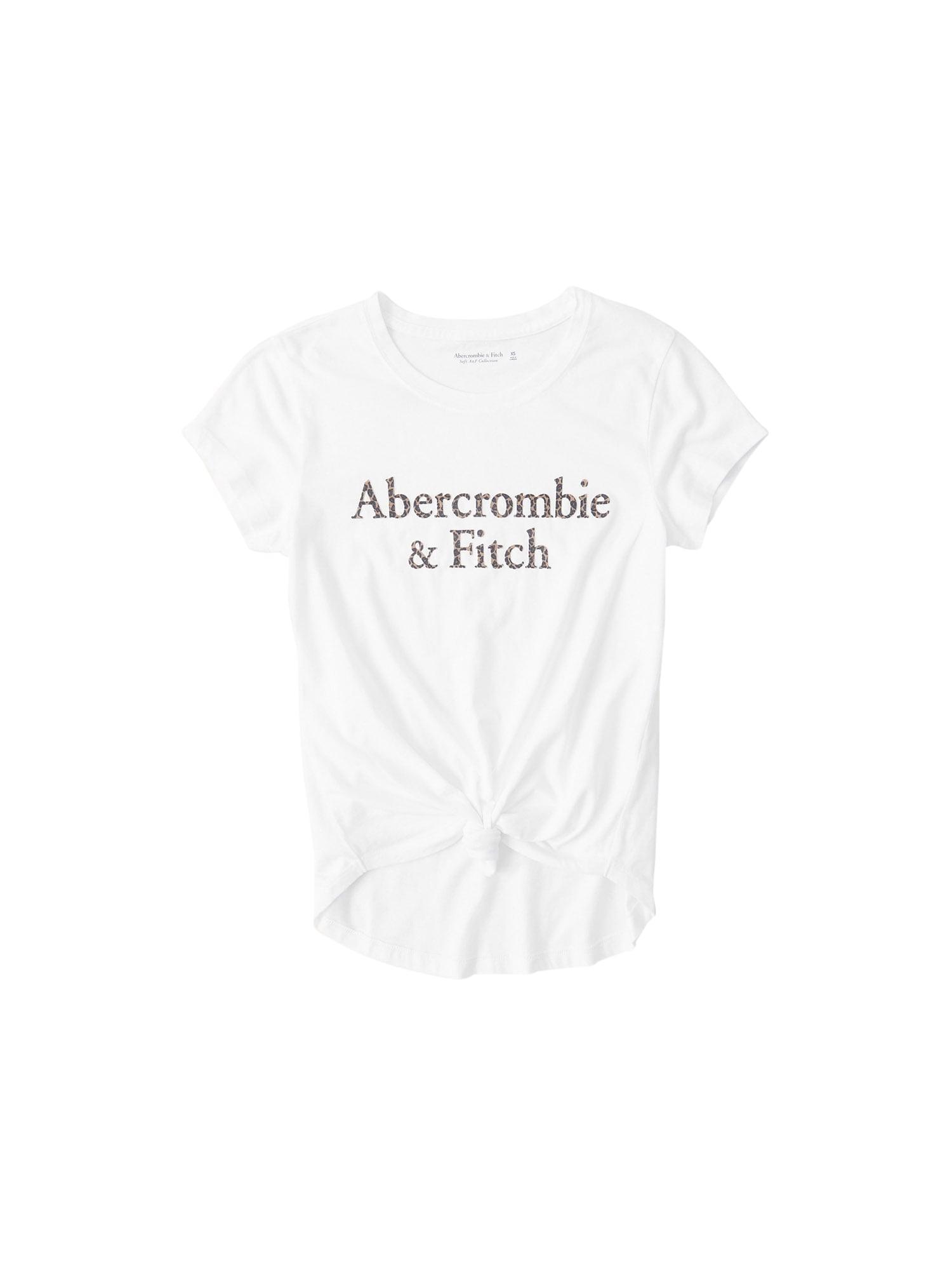 Abercrombie & Fitch Marškinėliai balta / juoda / šviesiai ruda