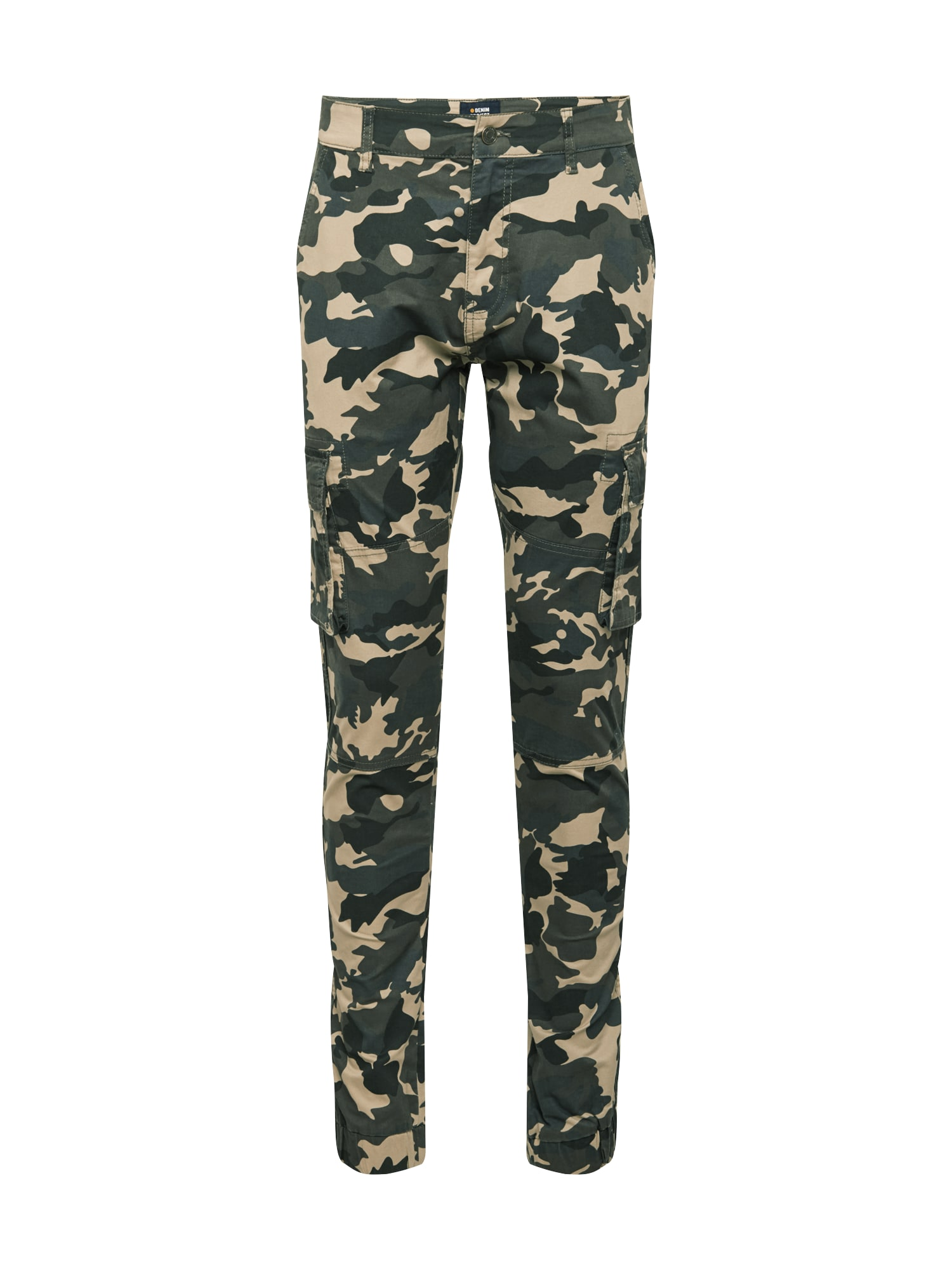 Denim Project Laisvo stiliaus kelnės rusvai žalia / smėlio / tamsiai mėlyna