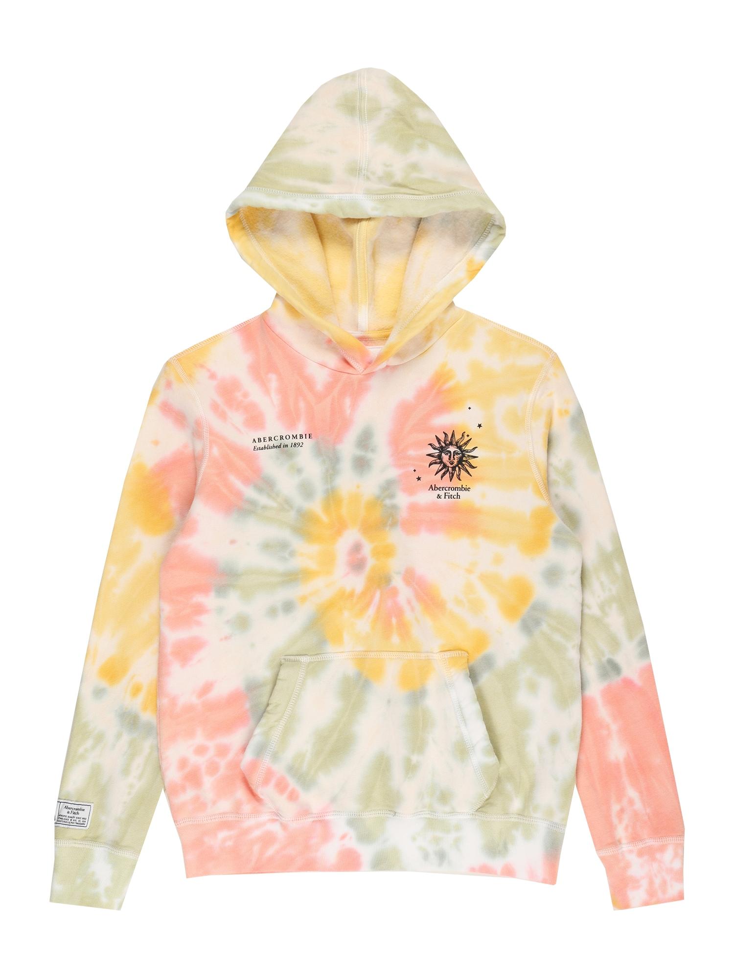 Abercrombie & Fitch Megztinis be užsegimo rožinė / šviesiai žalia / aukso geltonumo spalva / balta / juoda