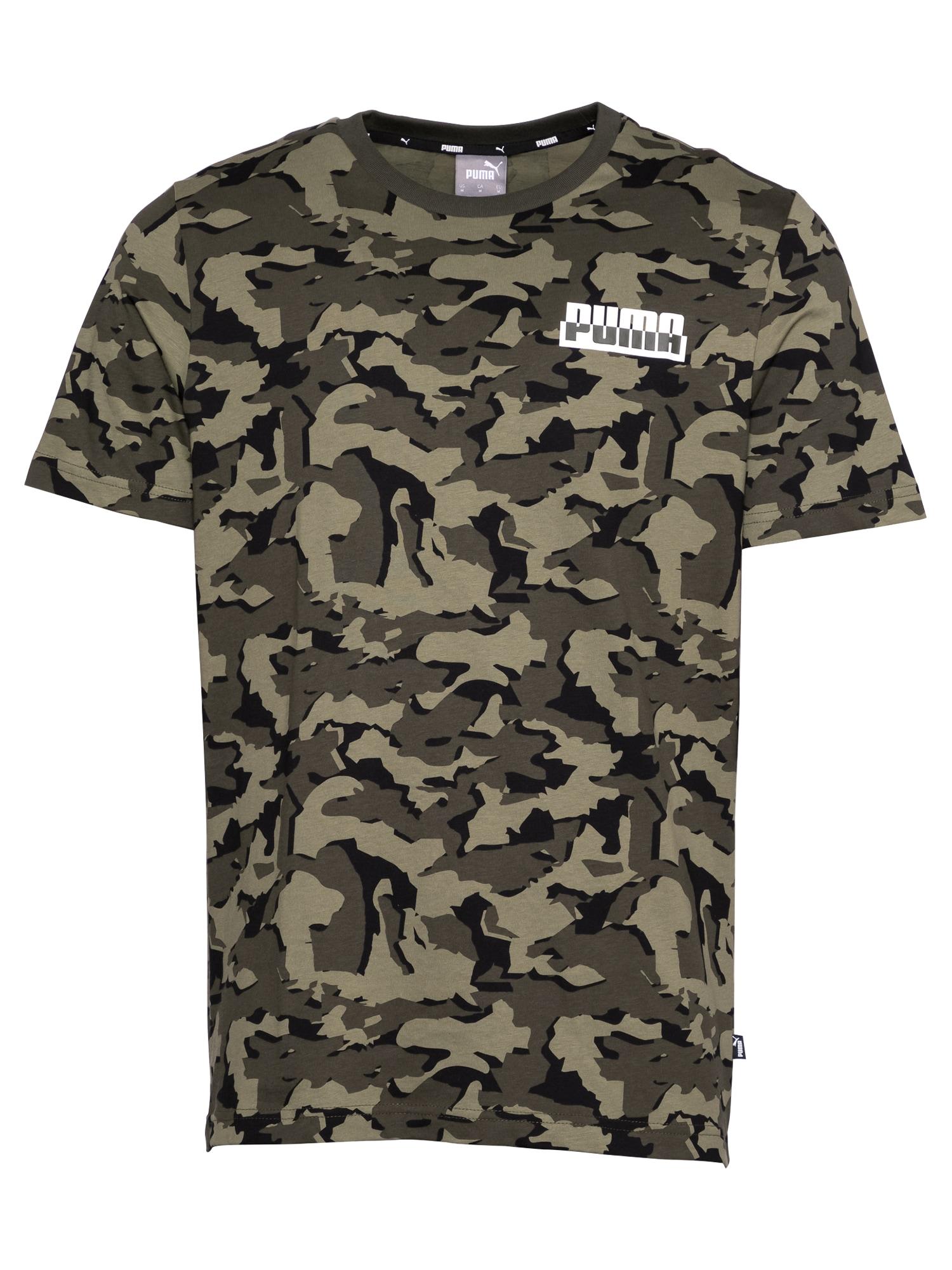 PUMA Sportiniai marškinėliai tamsiai žalia / juoda / balta / žalia
