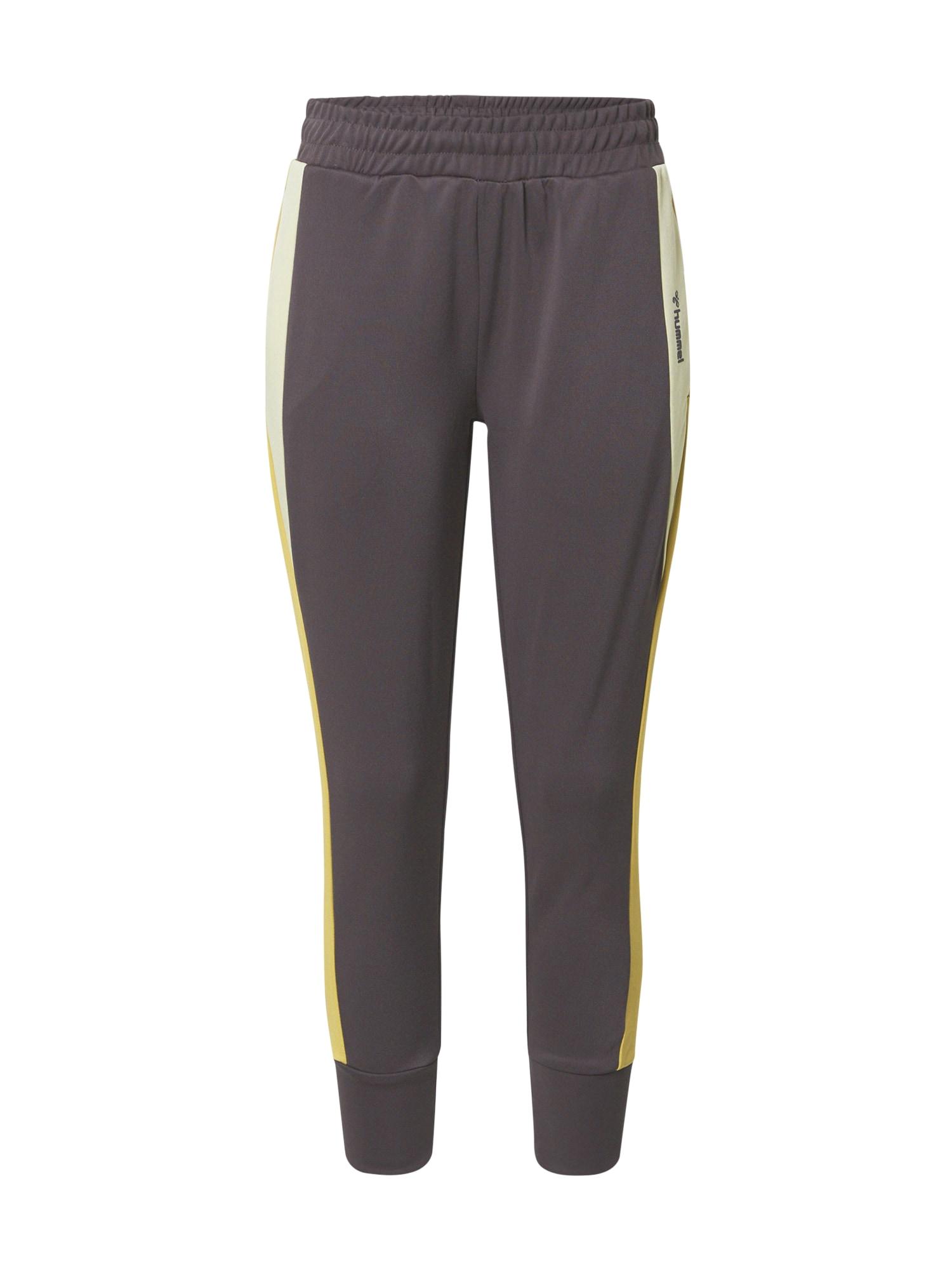 Hummel Sportovní kalhoty 'CHRISTY'  šedobéžová / žlutá / béžová