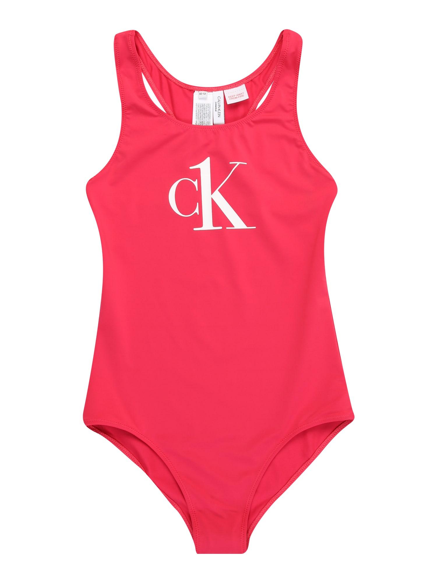 Calvin Klein Swimwear Maudymosi kostiumėlis rožinė / balta