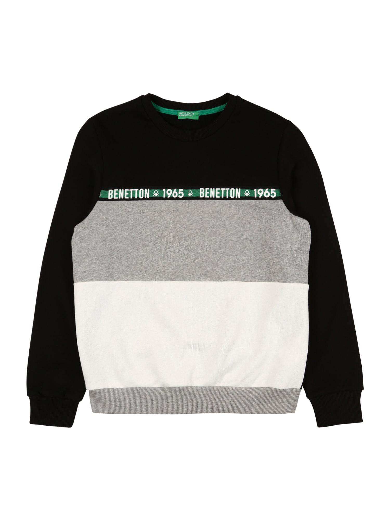 UNITED COLORS OF BENETTON Mikina  černá / bílá / šedý melír / zelená