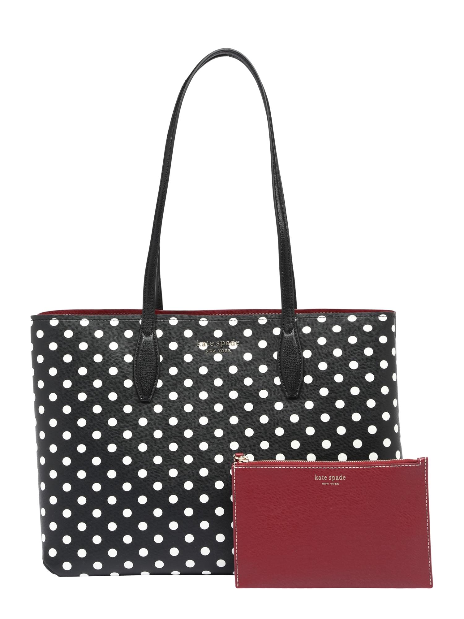 Kate Spade Pirkinių krepšys juoda / balta