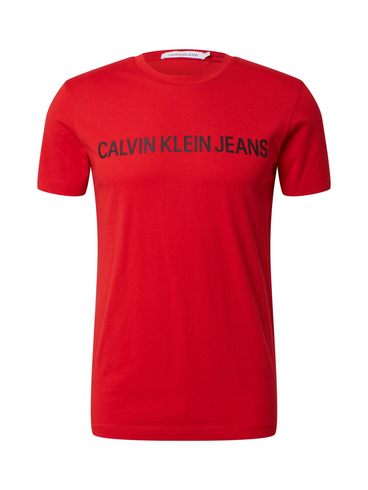 Calvin Klein Jeans Marškinėliai 'INSTITUTIONAL' juoda / raudona