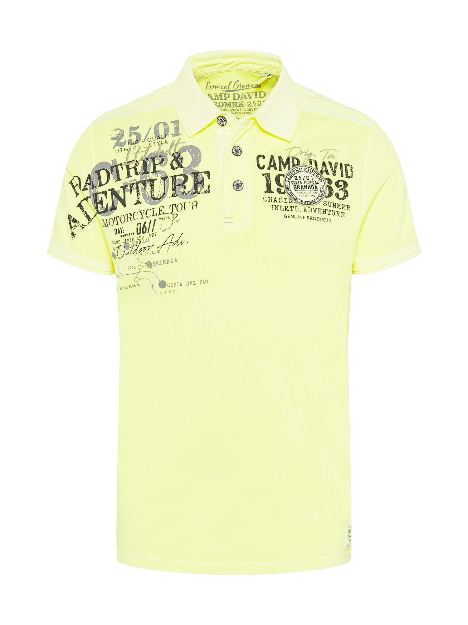 CAMP DAVID Marškinėliai šviesiai geltona / tamsiai pilka / juoda