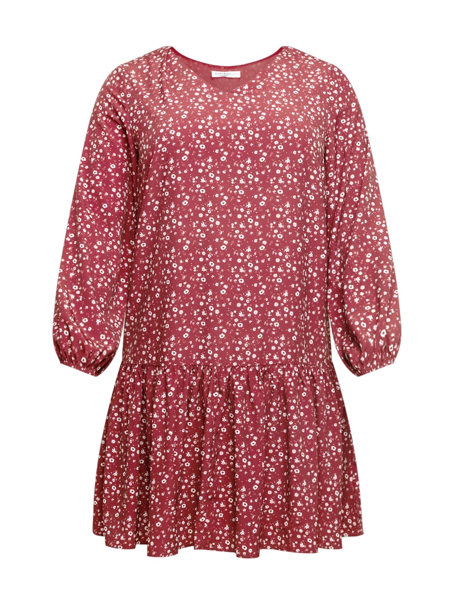 GLAMOROUS CURVE Suknelė kraujo spalva / balta