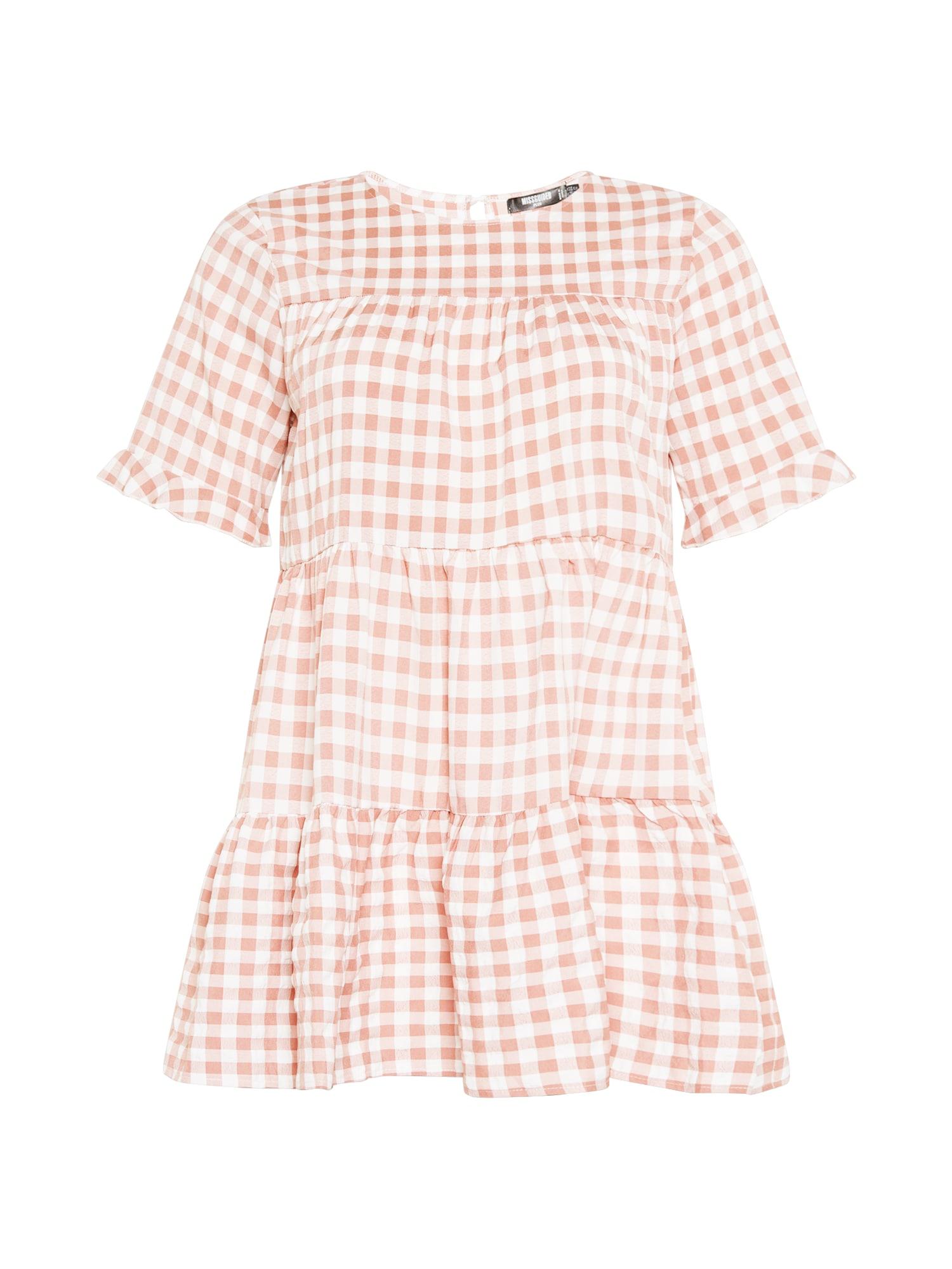 Missguided Plus Suknelė ryškiai rožinė spalva / balta