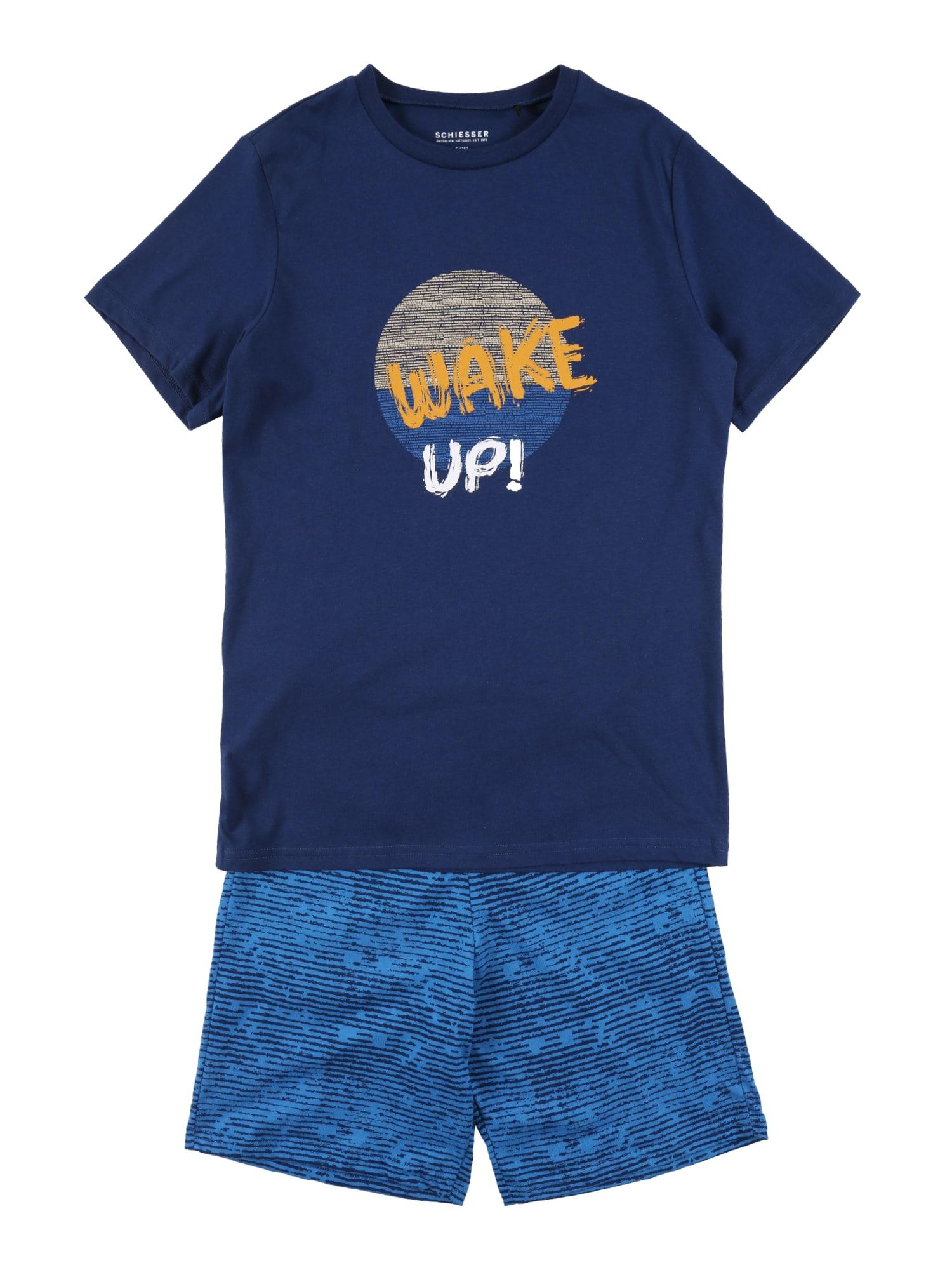 SCHIESSER Pyžamo  tmavě modrá / modrá / oranžová / bílá / tělová