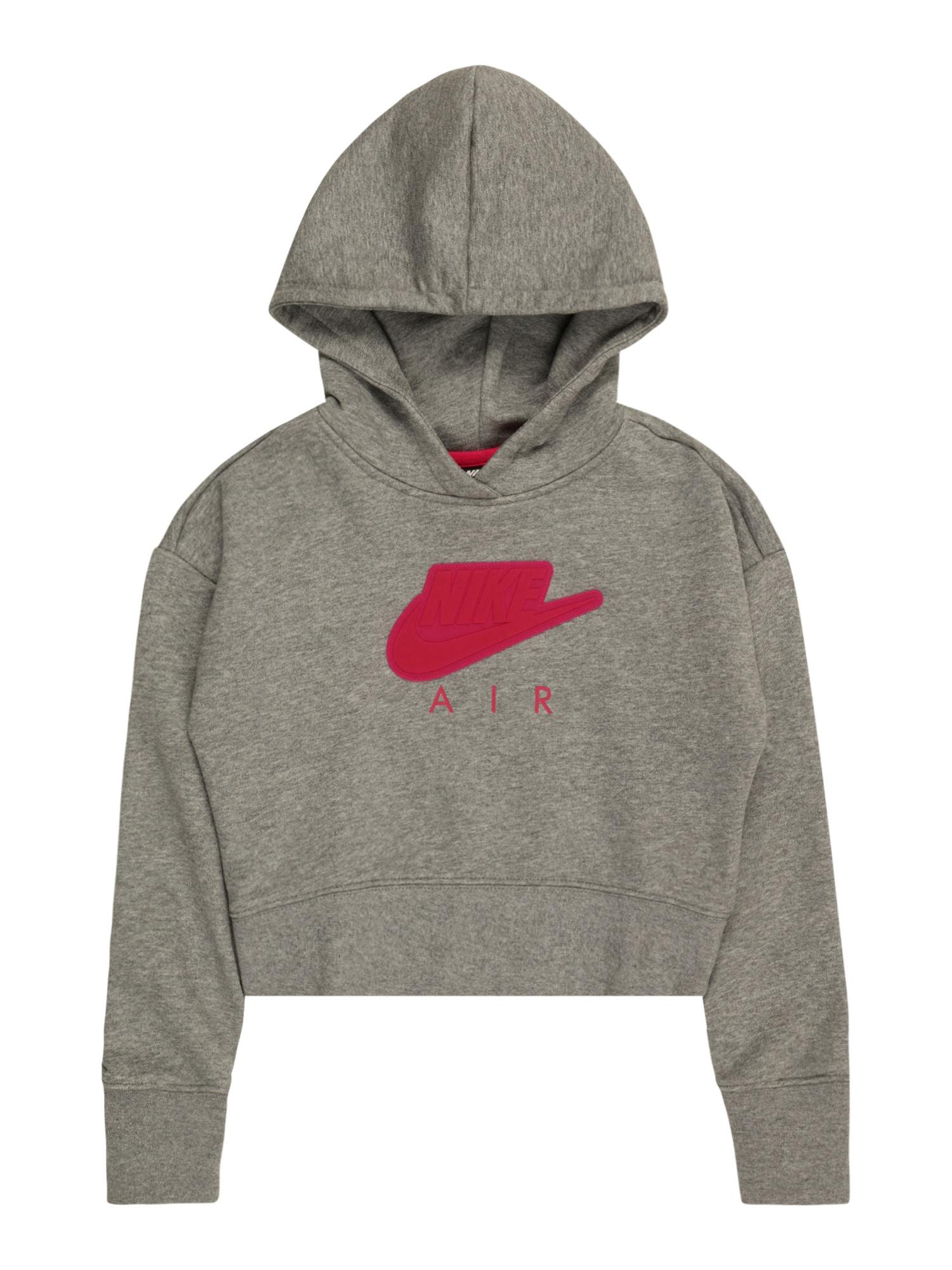 Nike Sportswear Megztinis be užsegimo margai pilka / granatų spalva
