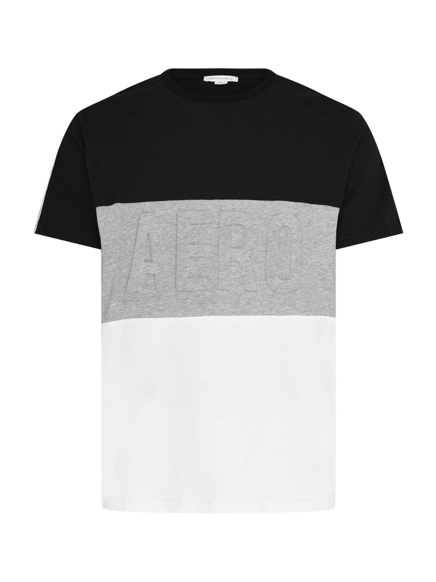 AÈROPOSTALE Marškinėliai juoda / margai pilka / balta