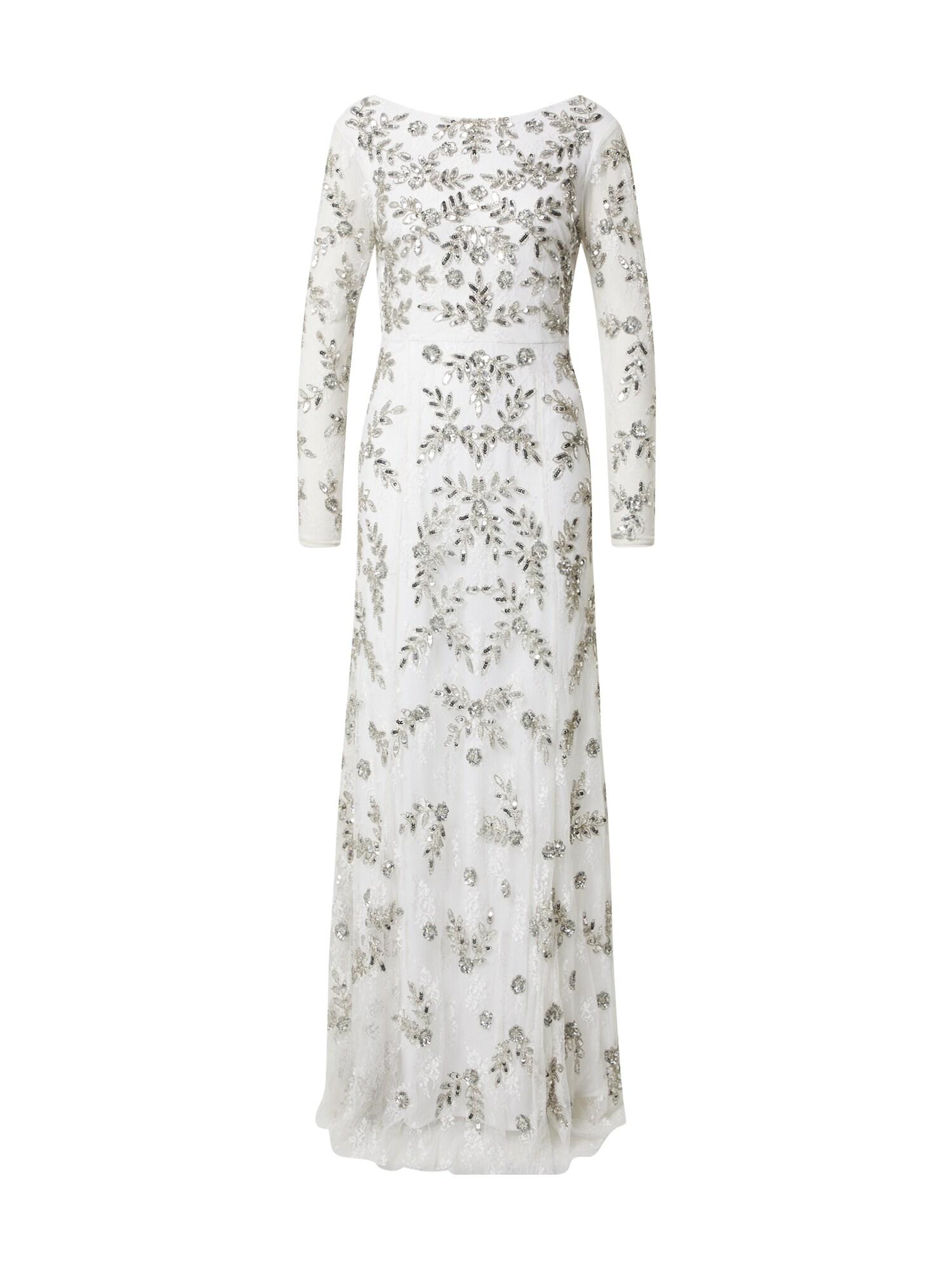 Maya Deluxe Vakarinė suknelė balta / sidabrinė