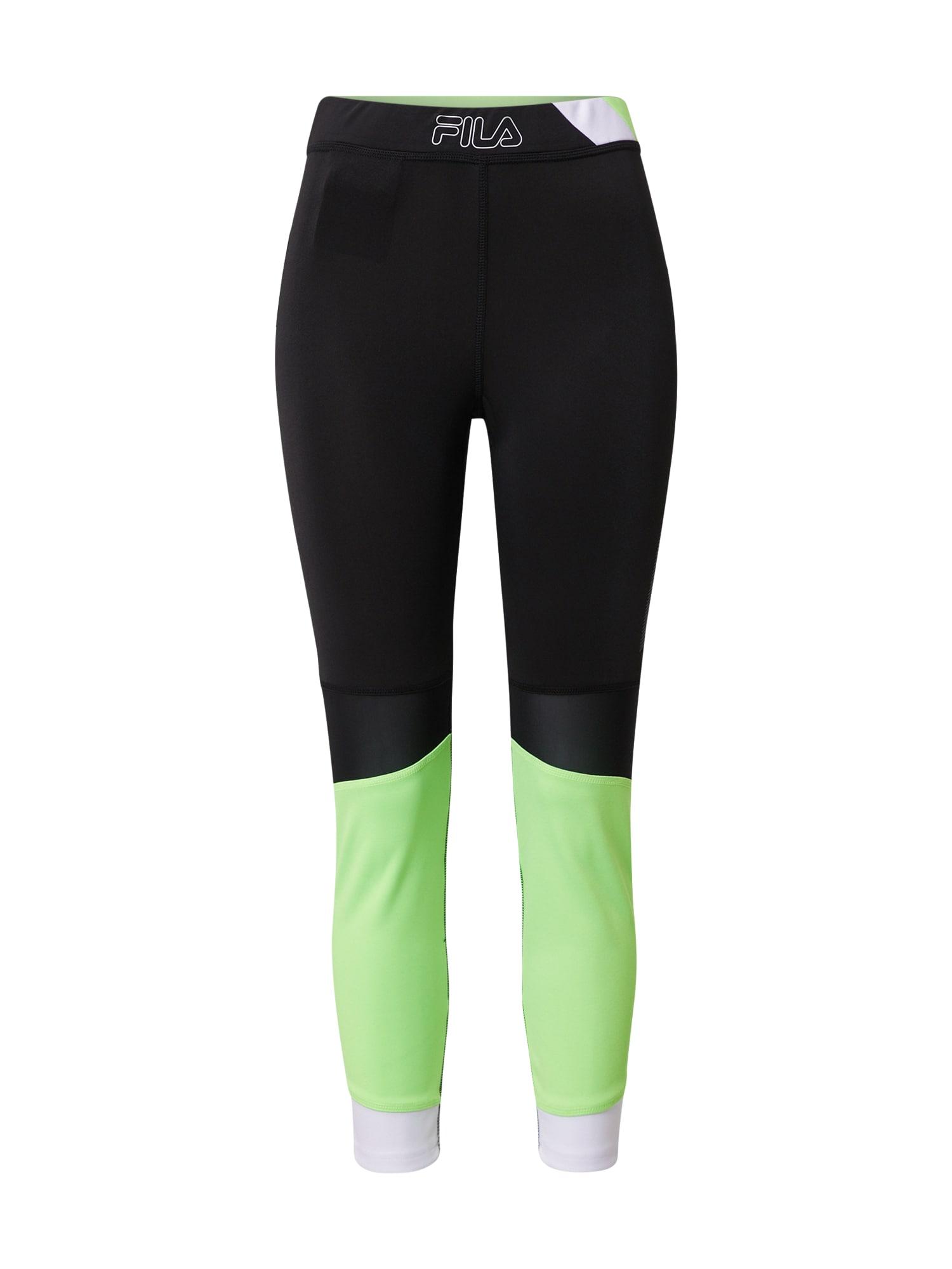 FILA Sportovní kalhoty 'ALGEA'  bílá / černá / svítivě zelená