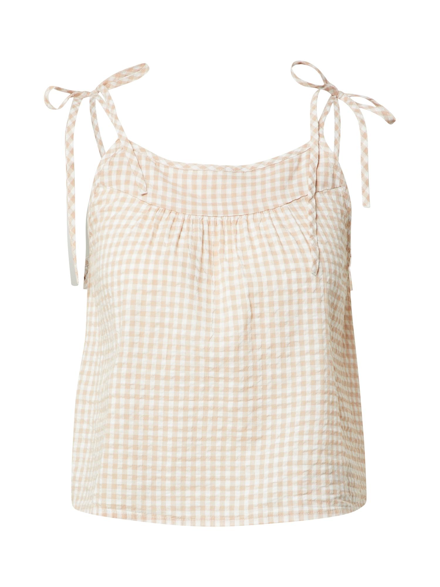 AERIE Tričko na spaní 'Cami'  béžová / bílá
