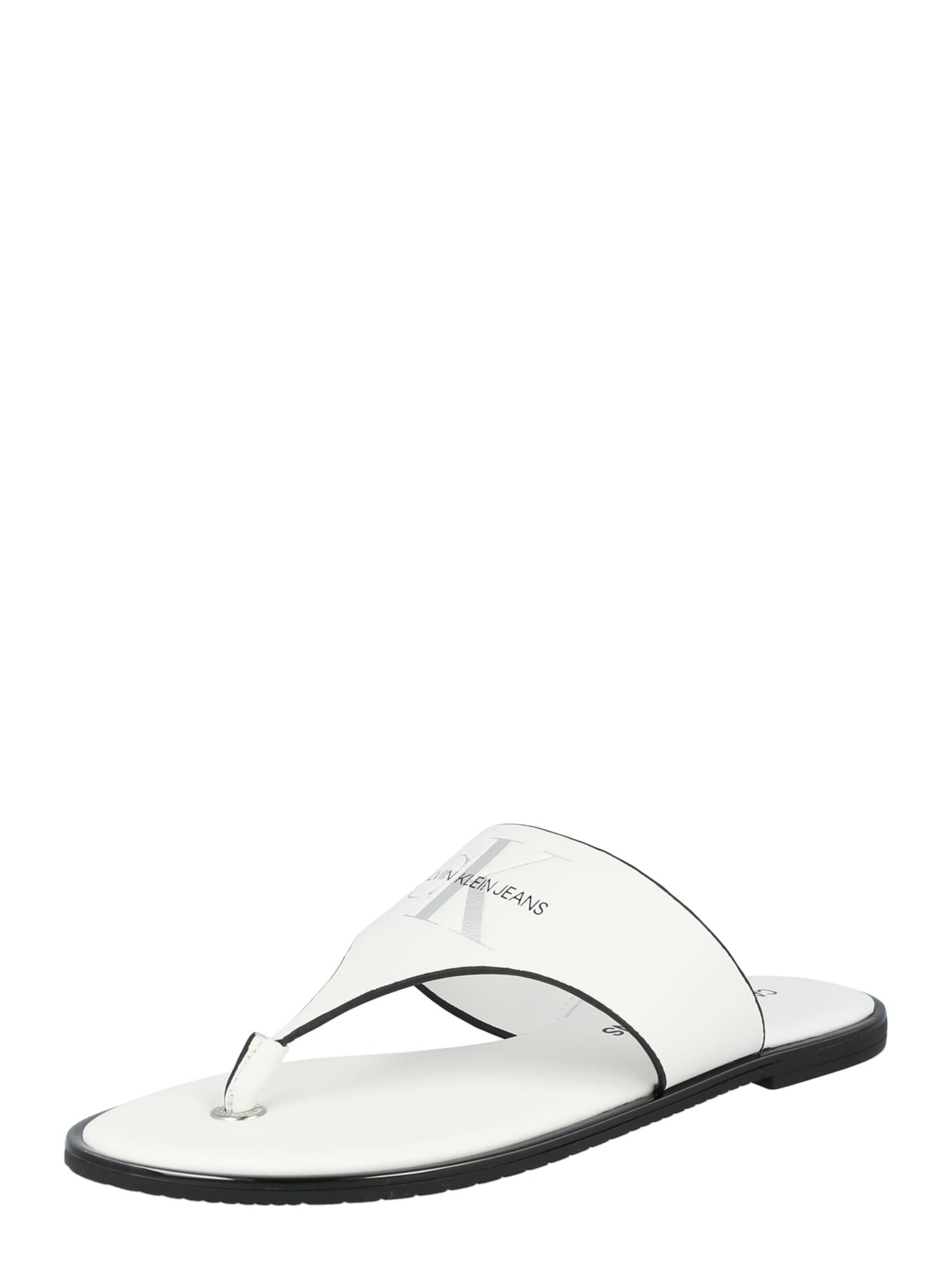 Calvin Klein Jeans Šlepetės balta / juoda