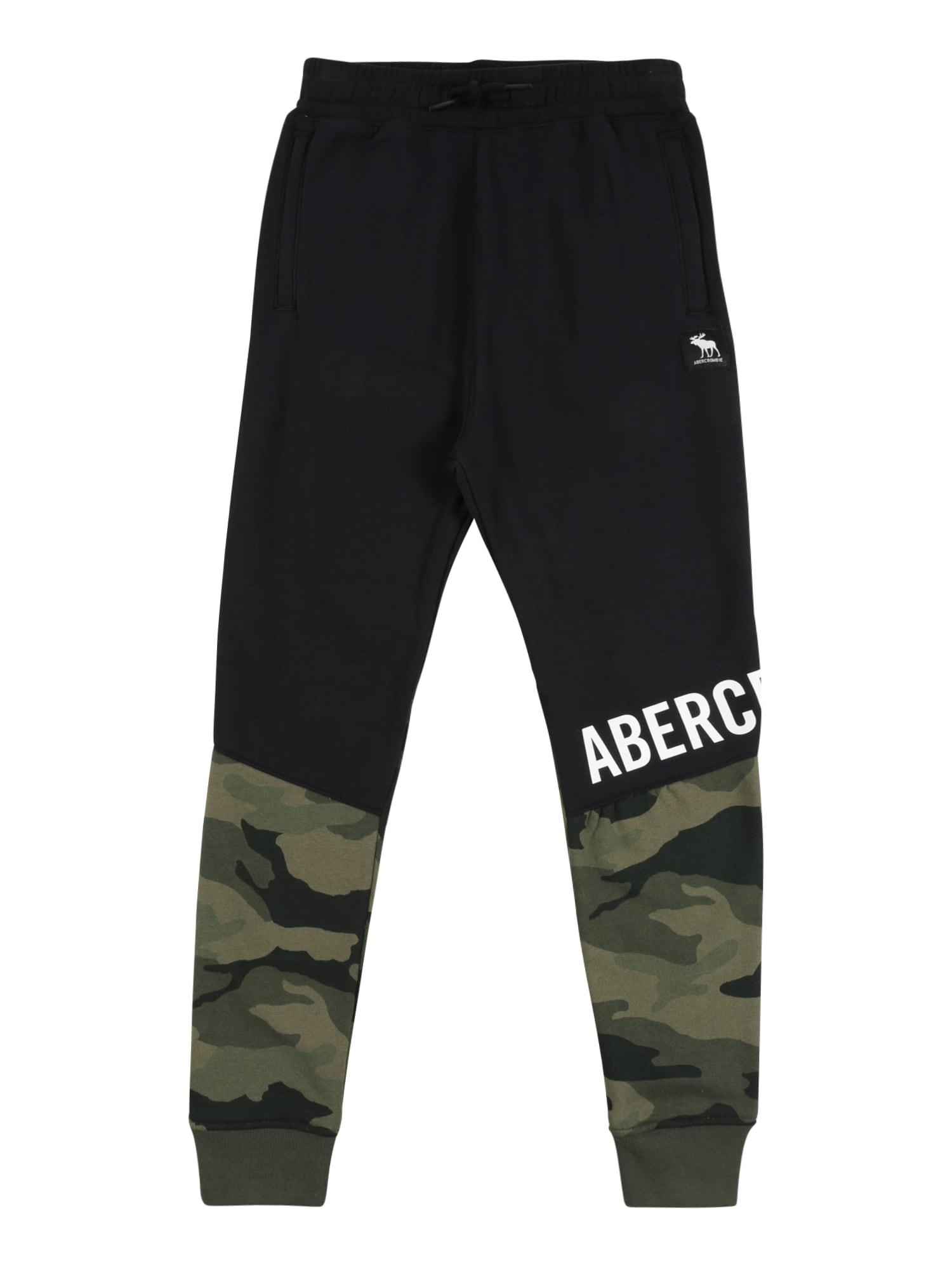 Abercrombie & Fitch Kelnės juoda / rusvai žalia / šviesiai žalia