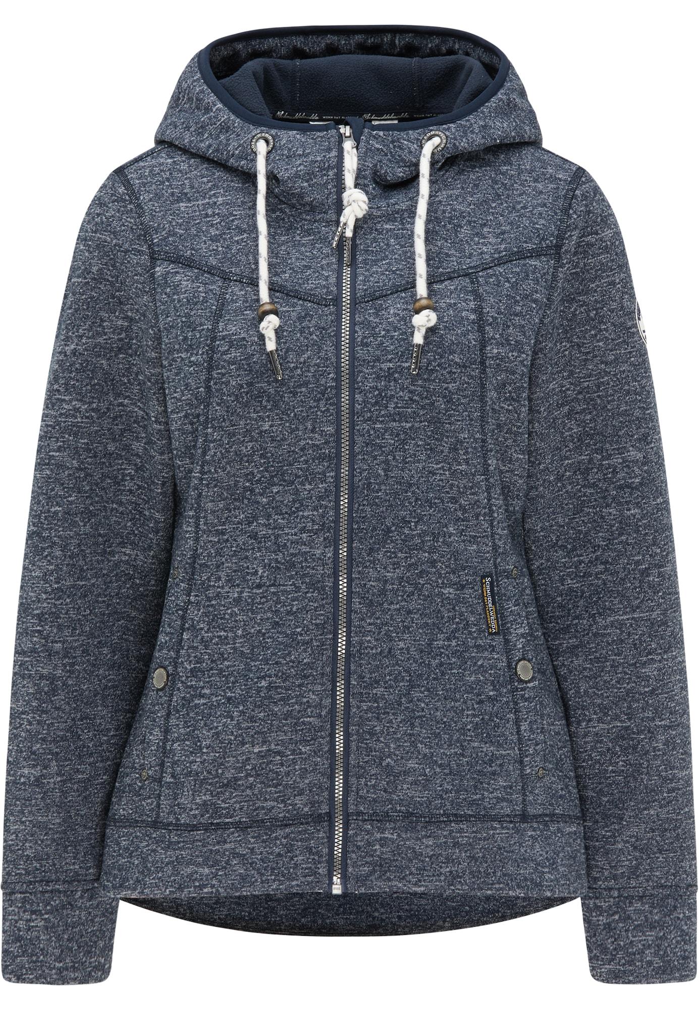Schmuddelwedda Flisinis džemperis tamsiai mėlyna jūros spalva / balta