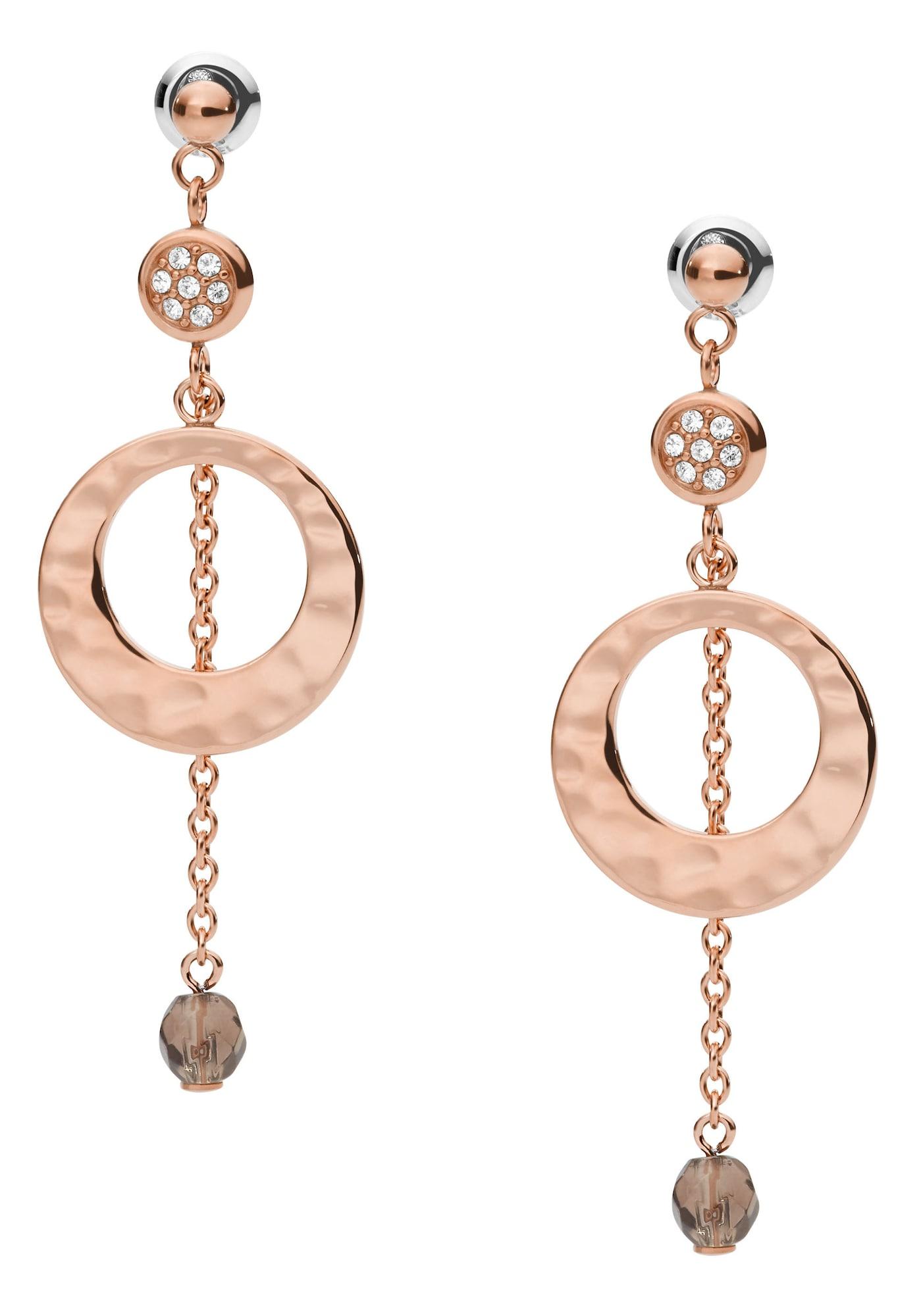 FOSSIL Auskarai rožinio aukso spalva / balta