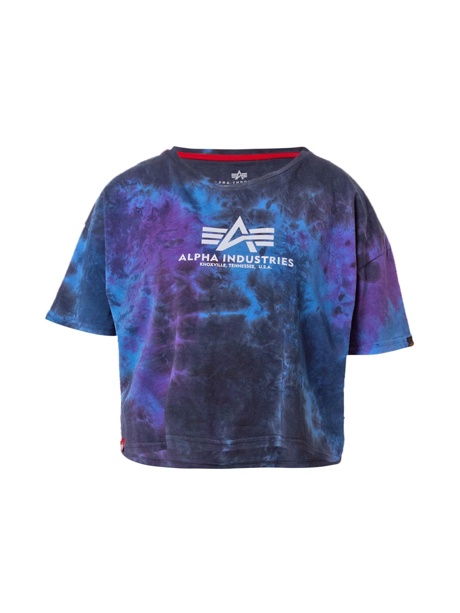 ALPHA INDUSTRIES Marškinėliai nakties mėlyna / purpurinė / šviesiai mėlyna / balta