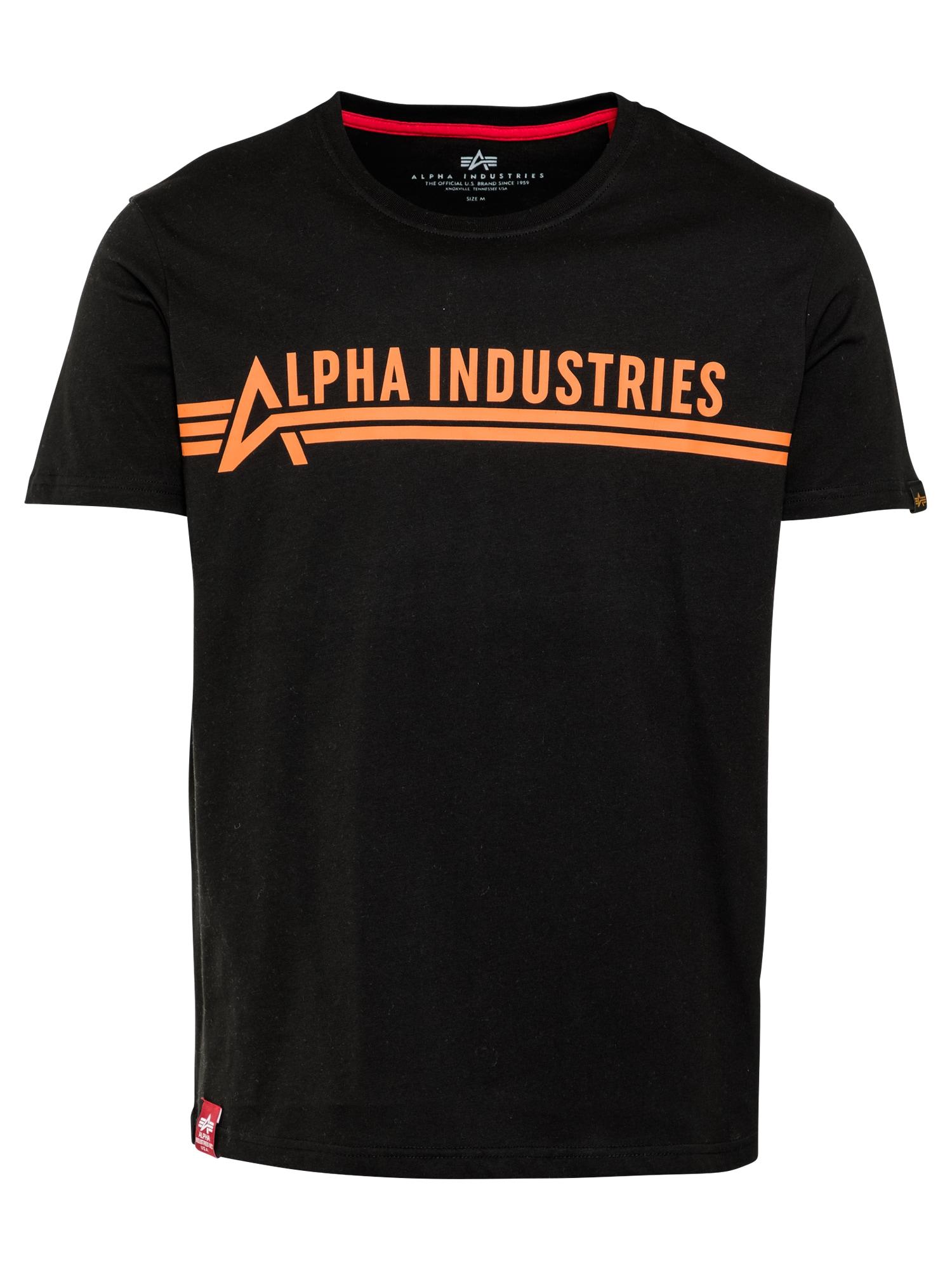 ALPHA INDUSTRIES Marškinėliai juoda / pastelinė oranžinė