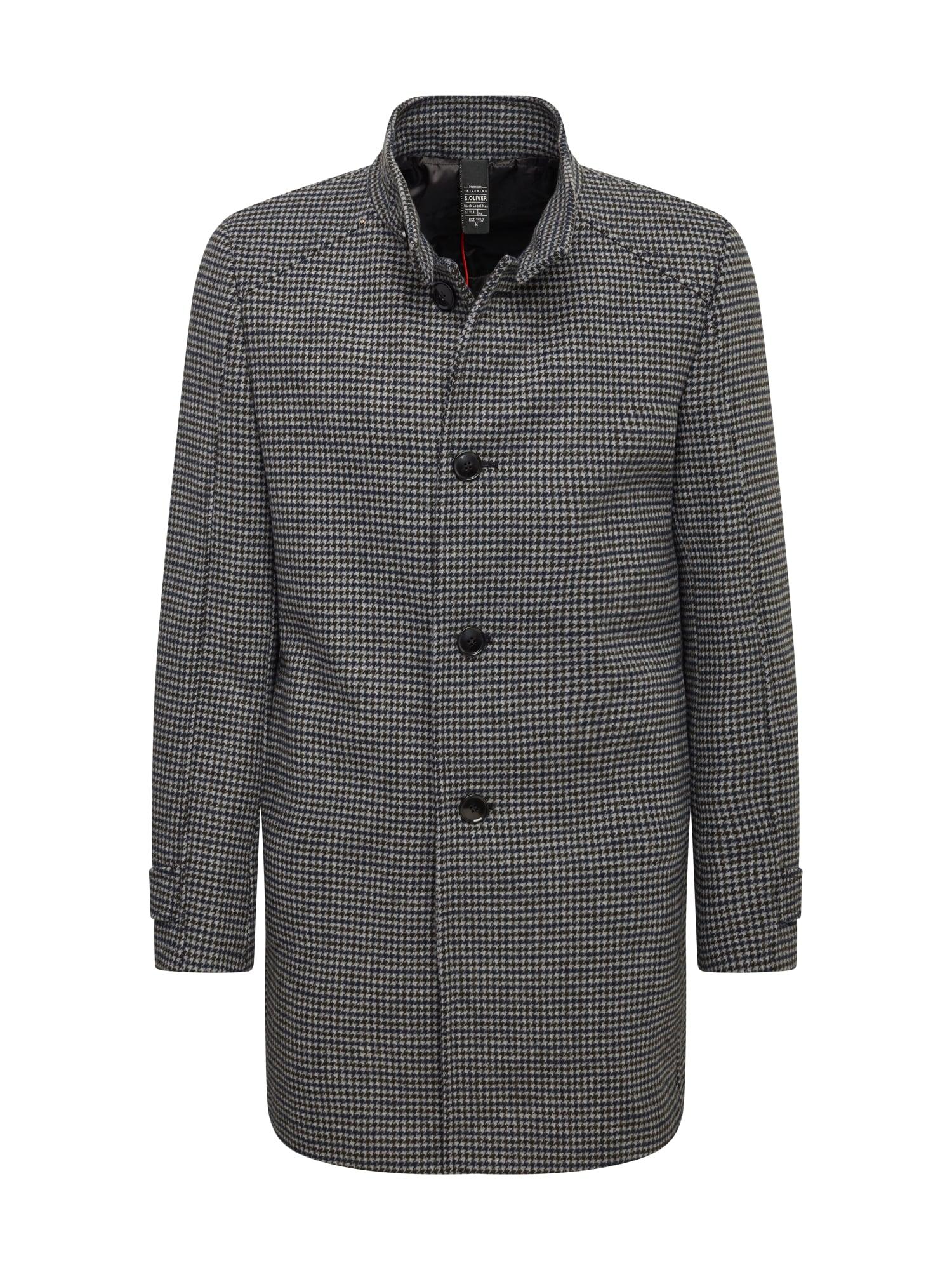 s.Oliver BLACK LABEL Demisezoninis paltas tamsiai mėlyna / tamsiai ruda / smėlio