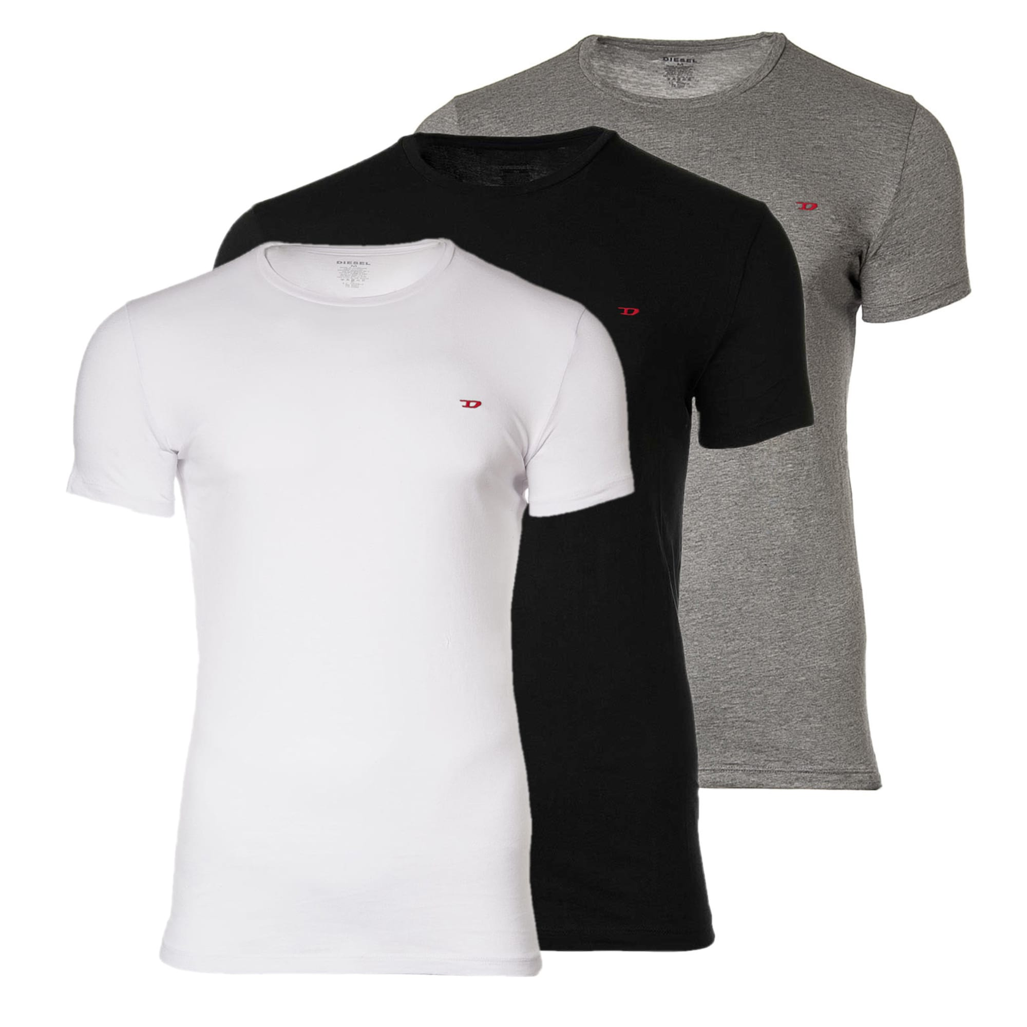DIESEL Marškinėliai margai pilka / juoda / balta