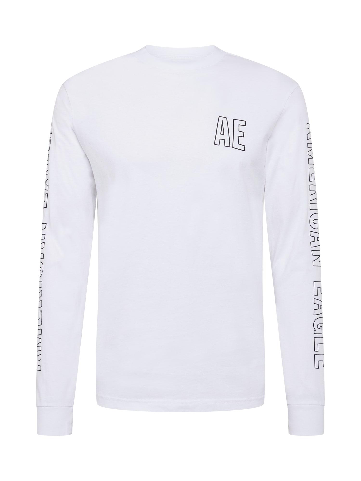 American Eagle Marškinėliai balta / juoda