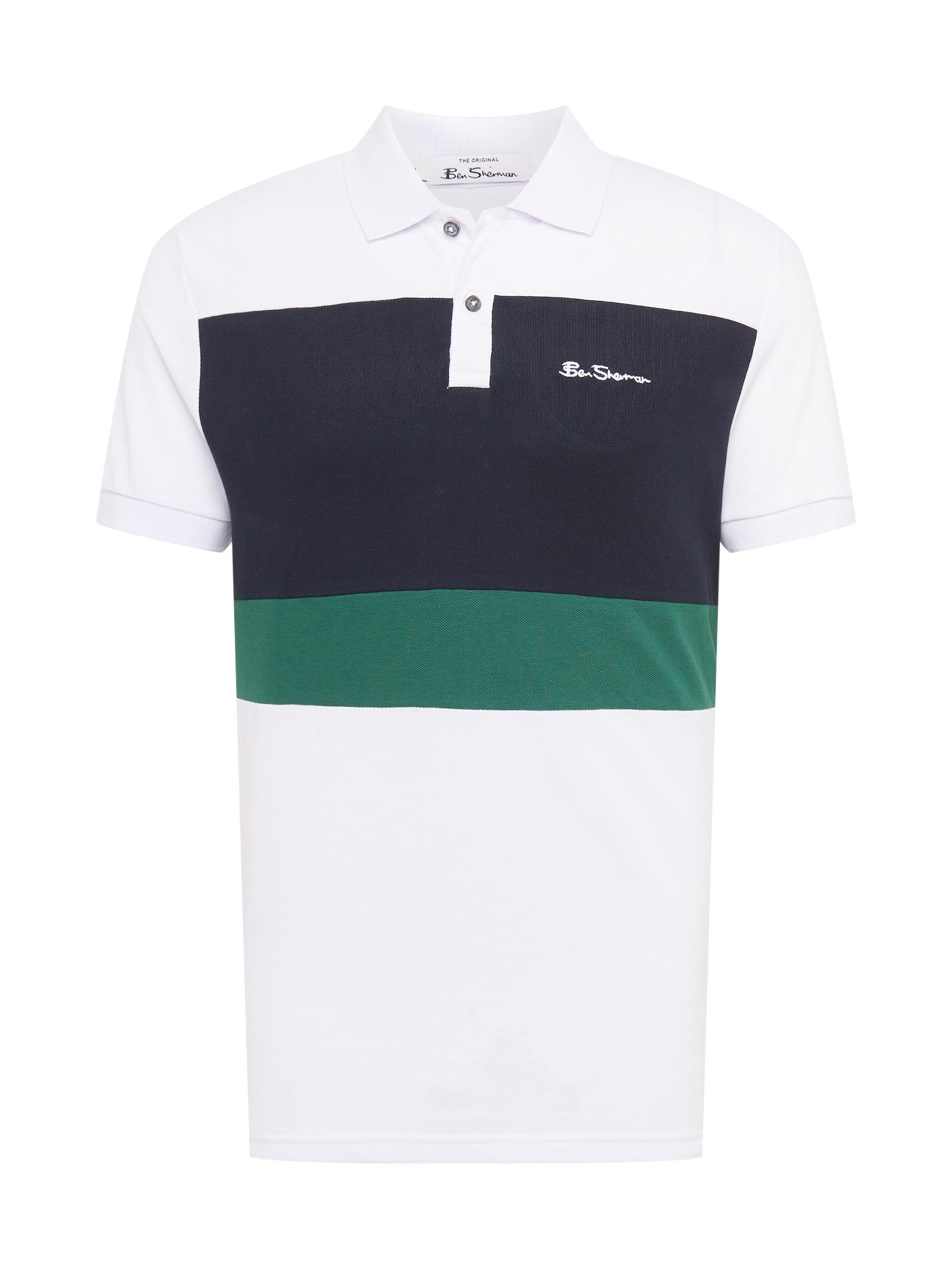 Ben Sherman Marškinėliai balta / tamsiai mėlyna / žalia