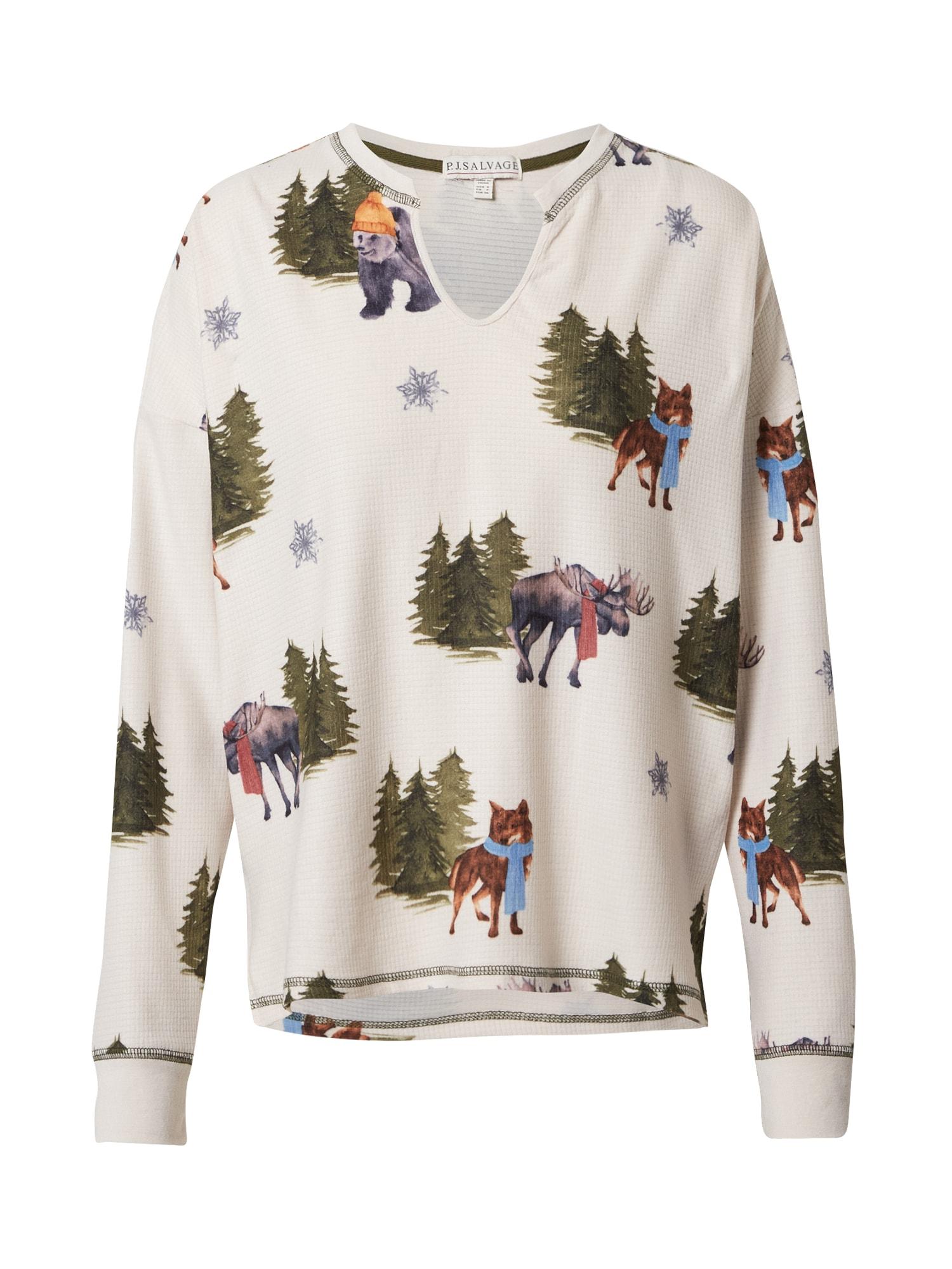 PJ Salvage Pižaminiai marškinėliai rusvai pilka / mišrios spalvos