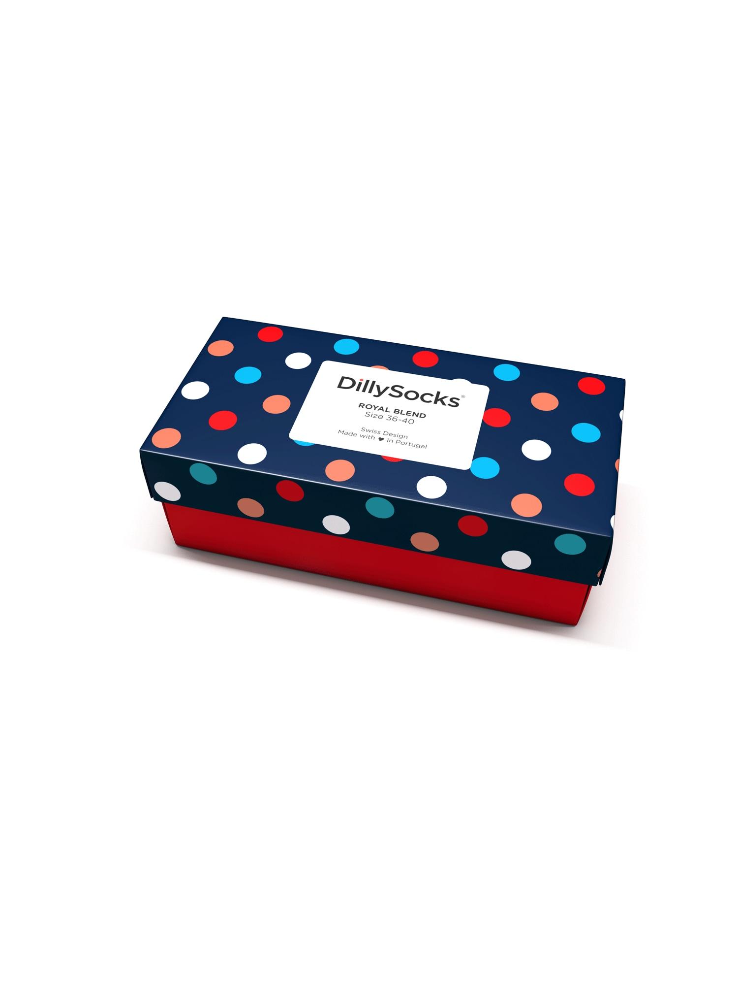DillySocks Ponožky 'Royal Blend'  bílá / modrá / červená