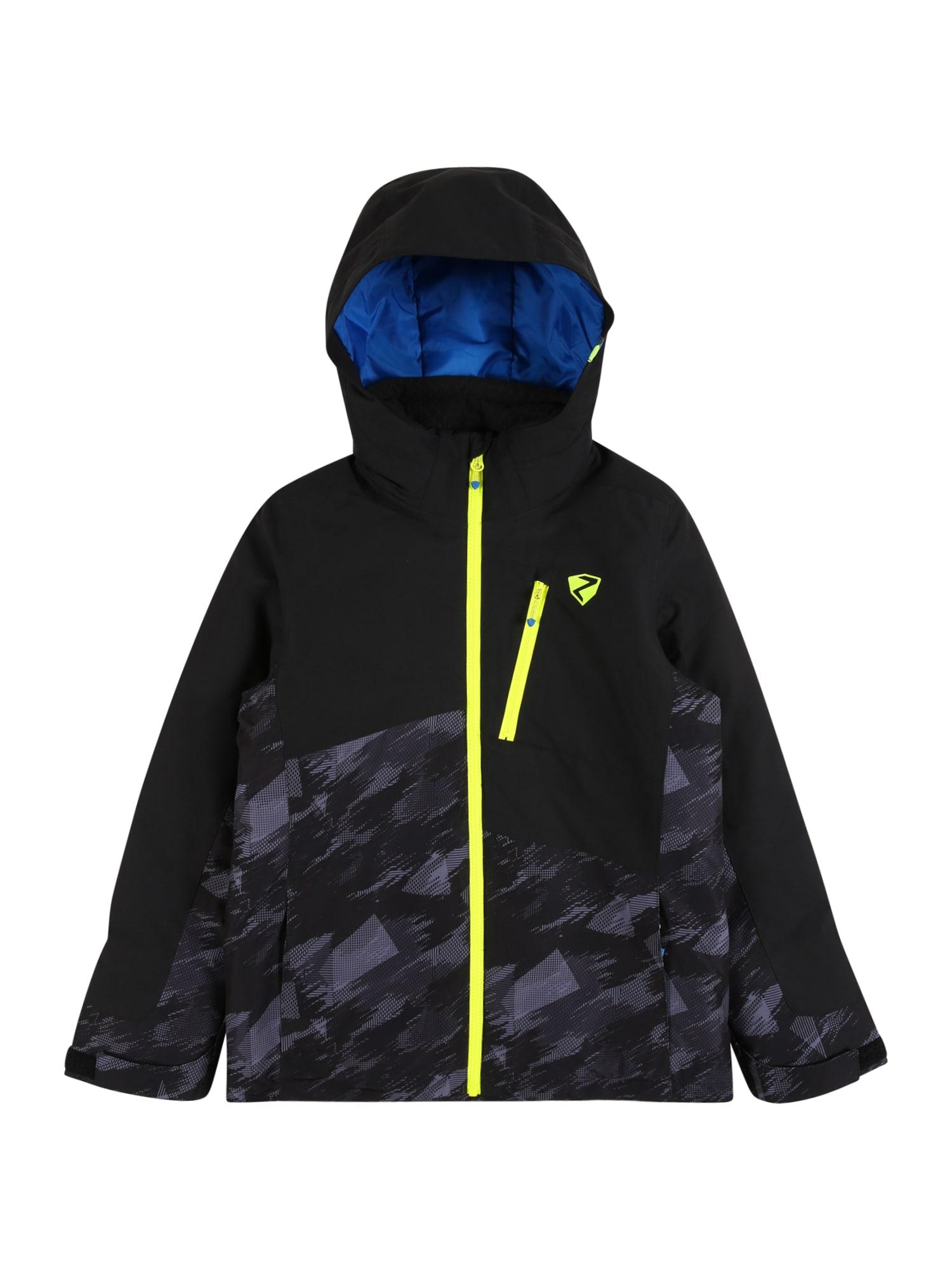 ZIENER Outdoorová bunda 'AYDEN'  černá / tmavě šedá / svítivě žlutá