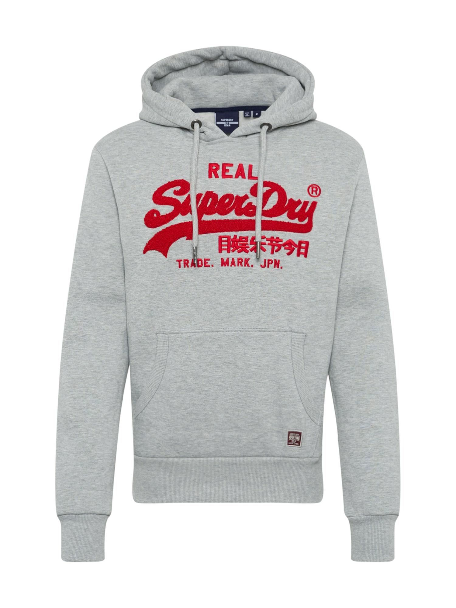 Superdry Marškinėliai 'CHENILLE' margai pilka / raudona