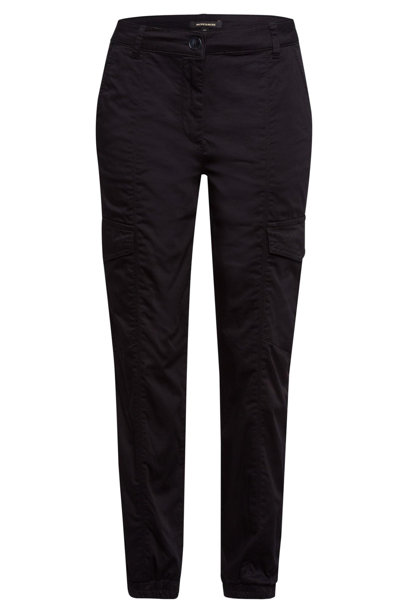 MORE & MORE Laisvo stiliaus kelnės juoda
