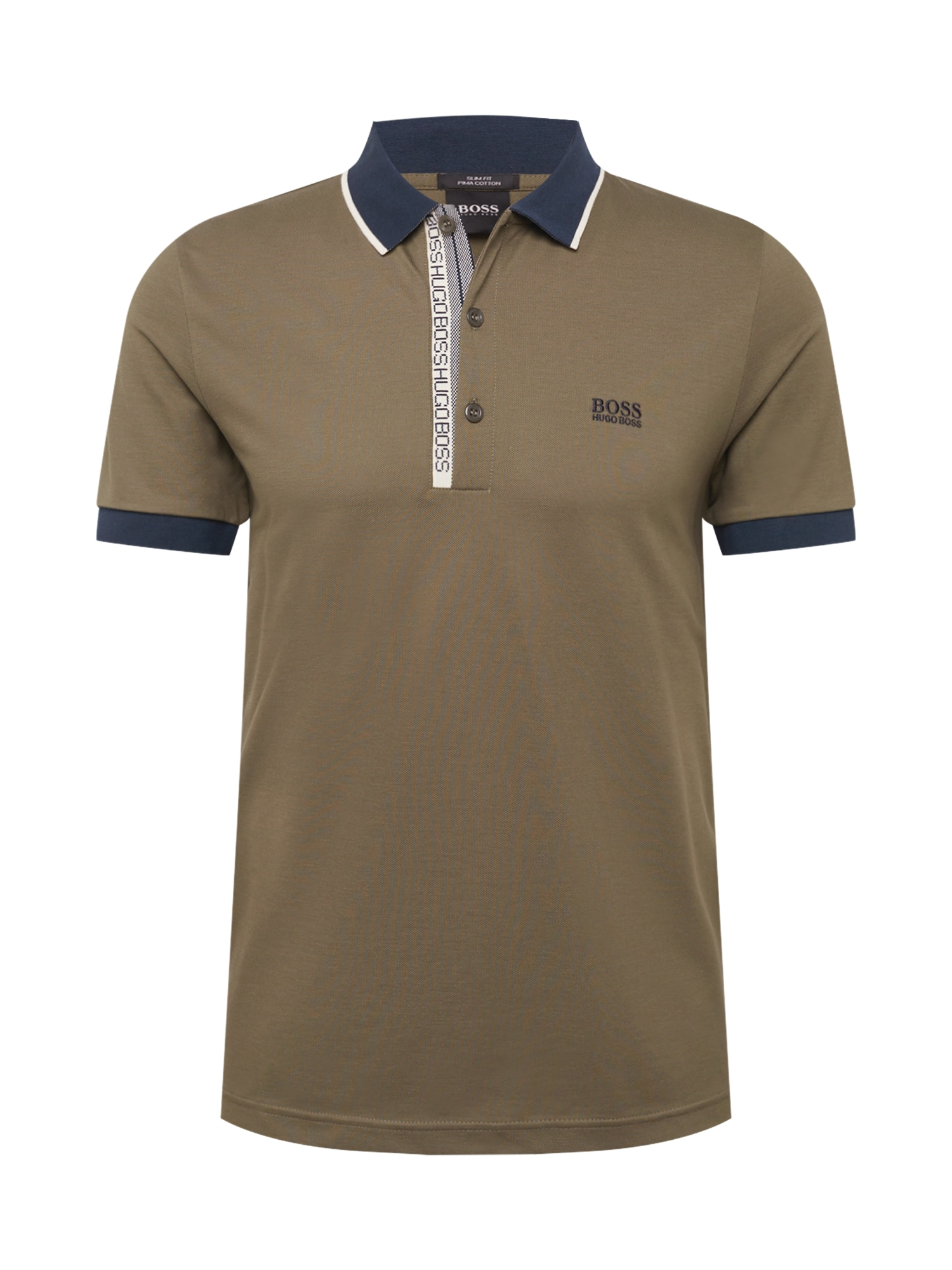 BOSS ATHLEISURE Tričko 'Paule '  khaki / námořnická modř / bílá