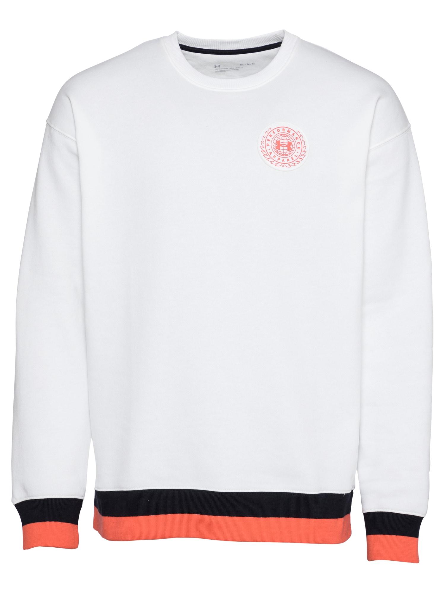 UNDER ARMOUR Sportinio tipo megztinis balta / juoda / lašišų spalva
