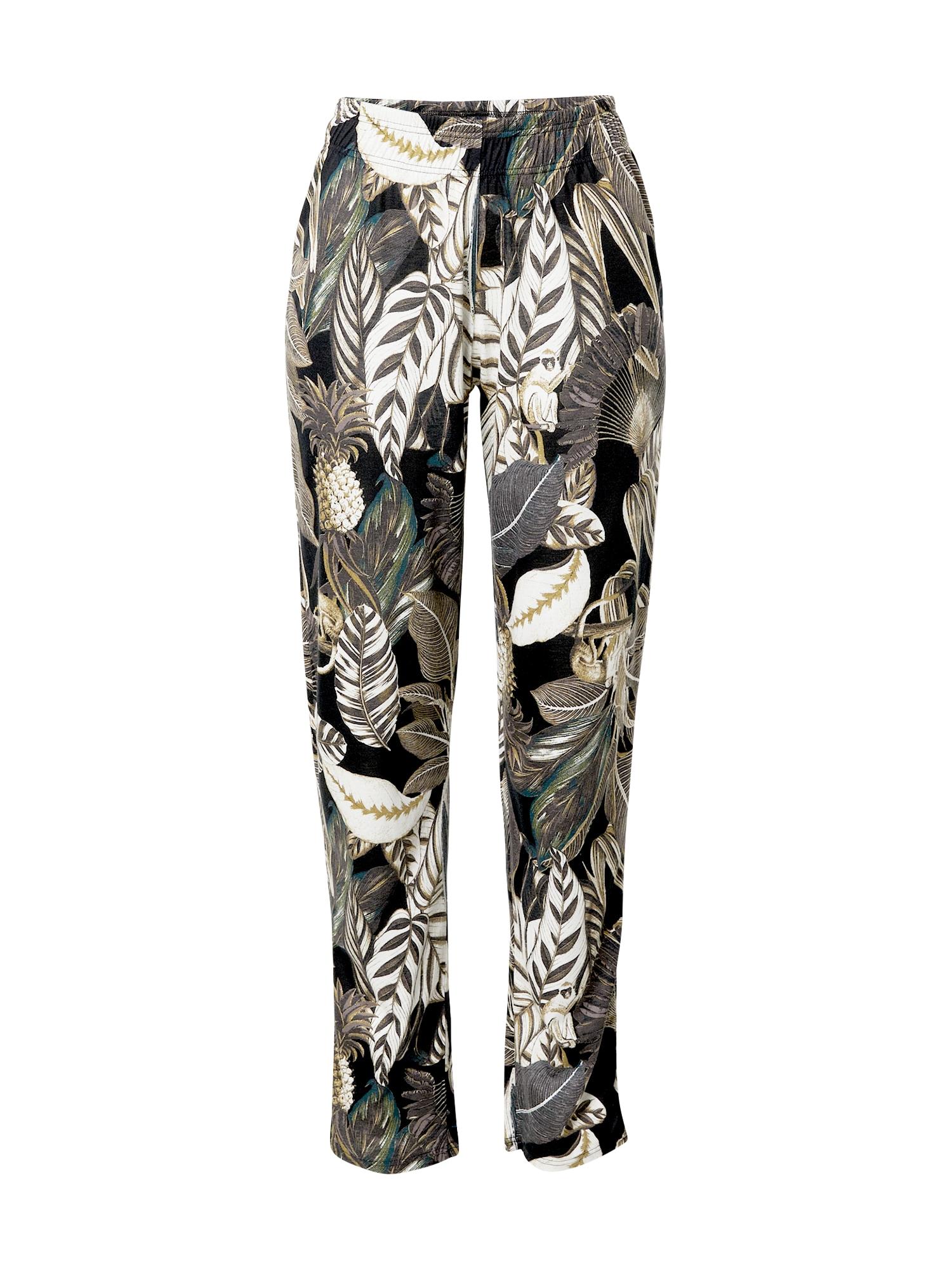 CALIDA Pižaminės kelnės balta / juoda / rusvai žalia / rausvai pilka