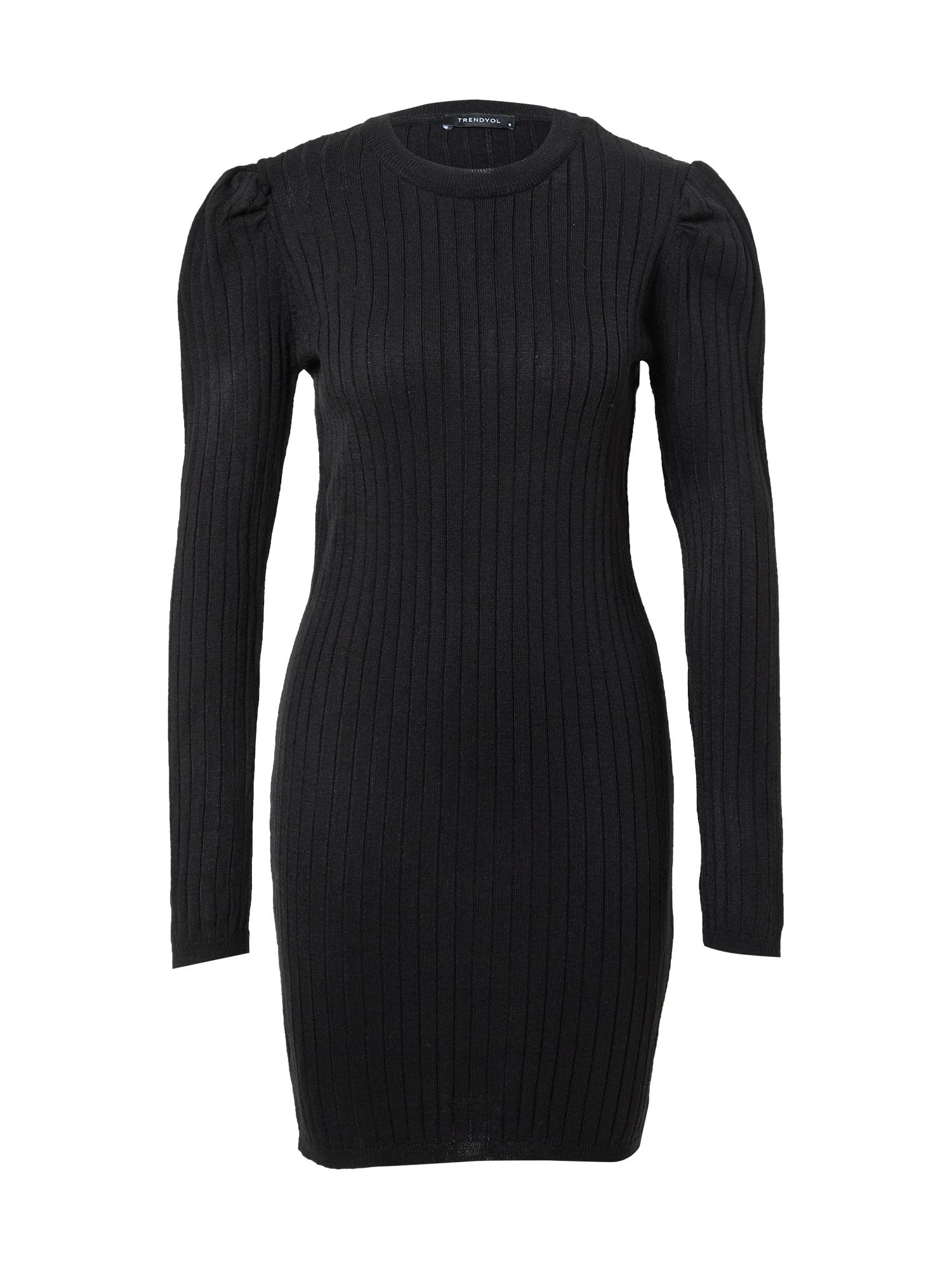 Trendyol Megzta suknelė juoda