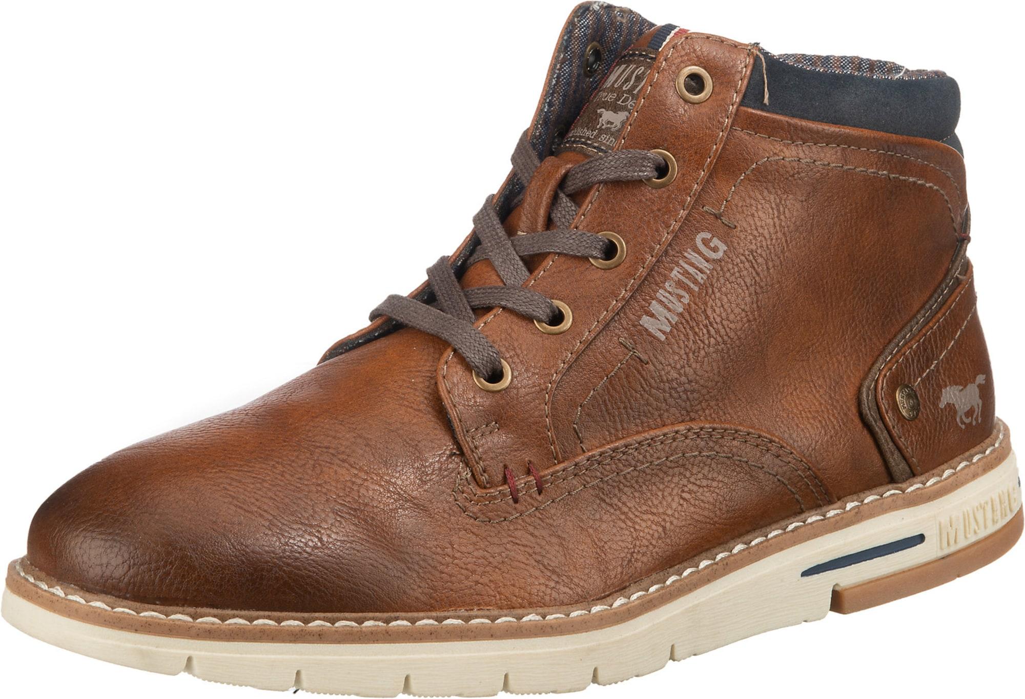MUSTANG Auliniai batai su raišteliais karamelės / tamsiai mėlyna jūros spalva